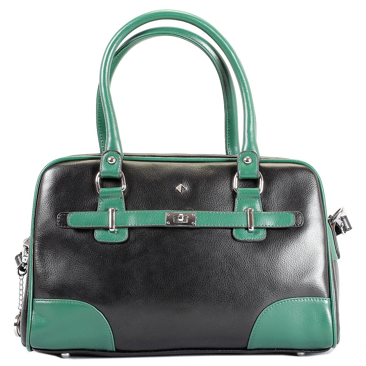Сумка женская Flioraj, цвет: черный, зеленый. 12044-112044-1/14 черн/зелСтильная женская сумка Flioraj выполнена из натуральной кожи с вставками контрастного цвета. Сумка имеет одно отделение, которое закрывается на застежку-молнию. Внутри расположен вшитый карман на застежке-молнии, накладной кармашек на застежке-молнии и два накладных кармашка для телефона и мелких бумаг. С задней стороны сумки - карман на застежке-молнии. Сумка оснащена двумя удобными ручками на металлических кольцах и отстегивающимся плечевым ремнем регулируемой длины. Фурнитура выполнена из металла серебристого цвета. На дне - 4 металлические ножки. В комплекте - чехол для хранения и металлический брелок с логотипом фирмы Flioraj. Стильная сумка Flioraj станет финальным штрихом в создании вашего неповторимого образа.