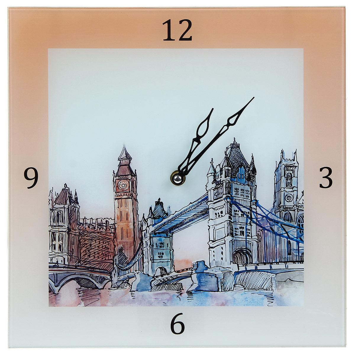 Часы настенные Лондон. 2780327803Настенные кварцевые часы квадратной формы Лондон выполнены из высококачественного стекла и оформлены изображением города. Часы имеют две фигурные стрелки - часовую, минутную. Циферблат не защищен стеклом. Своим эксклюзивным дизайном часы подчеркнут оригинальность интерьера вашего дома и помогут создать атмосферу домашнего уюта. Такие часы послужат отличным подарком для каждого. Рекомендуется докупить батарейку типа АА (в комплект не входит).