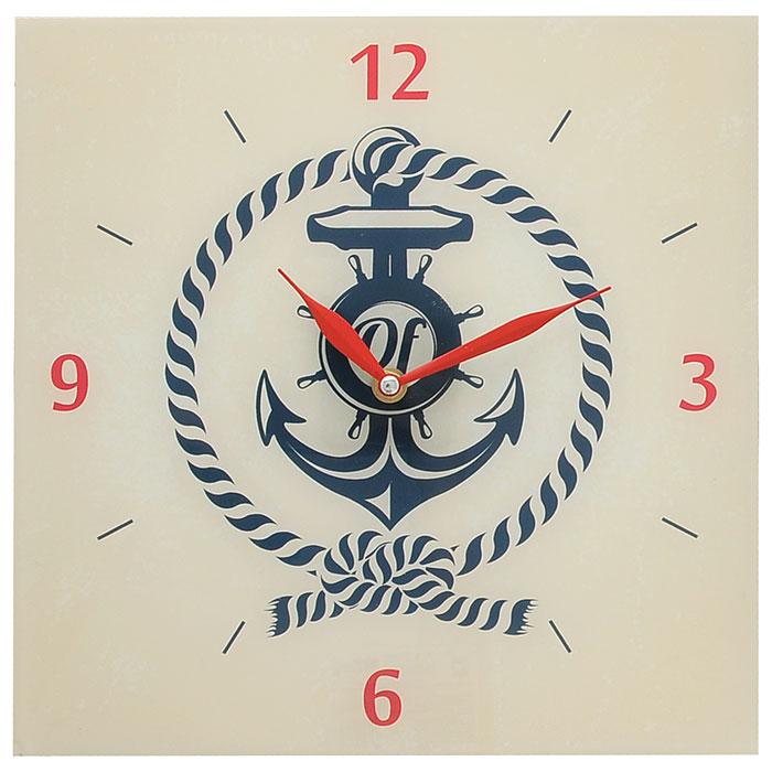 Часы настенные Якорь. 2780727807Настенные часы квадратной формы Якорь своим эксклюзивным дизайном подчеркнут оригинальность интерьера вашего дома. Часы выполнены из стекла. Часы имеют две стрелки красного цвета - часовую и минутную. Циферблат часов не защищен стеклом. Настенные часы Якорь подходят для кухни, гостиной, прихожей или дачи, а также могут стать отличным подарком для друзей и близких. Часы работают от одной батарейки типа АА (не входят в комплект).