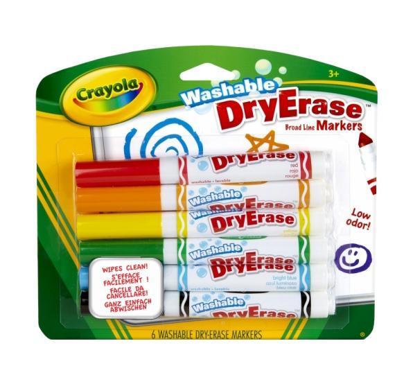 6 легко смываемых фломастеров Dry Erase98-5807Американский бренд Crayola делает все, чтобы детское творчество было не только веселым, но еще и максимально комфортным для детей и их родителей. Любая мама знает, что после творческого процесса малыша зачастую возникает необходимость отмыть юного художника и постирать его одежду.