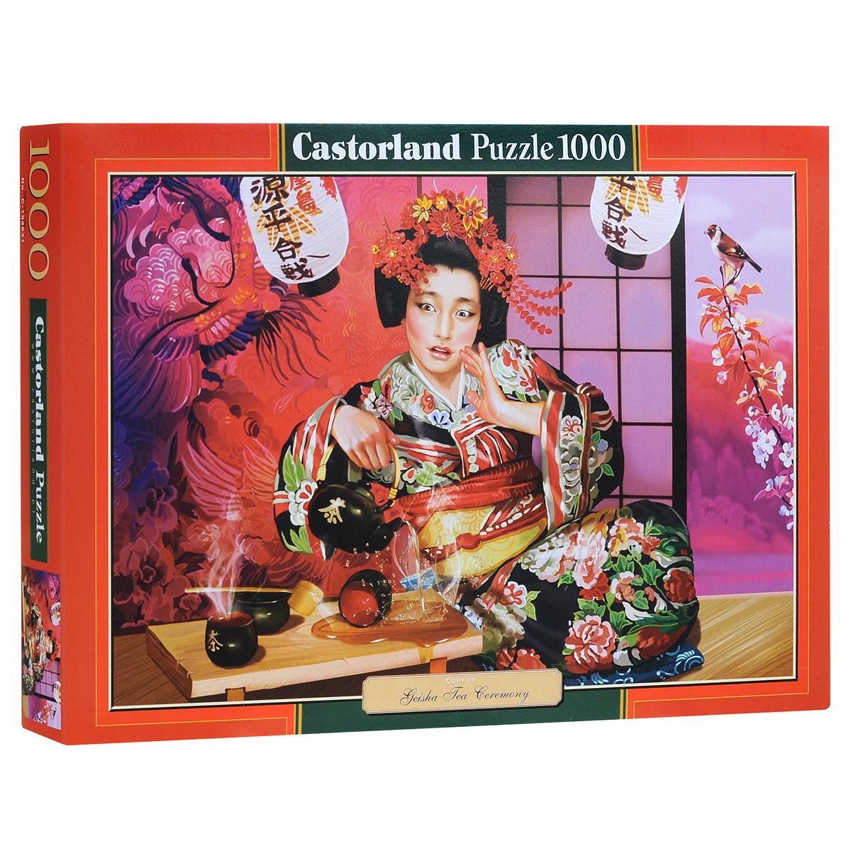 Гейша на чайной церемонии (Geisha Tea Ceremony). Пазл, 1000 элементовС-102631Пазл Гейша на чайной церемонии (Geisha Tea Ceremony) несомненно придется вам по душе. Собрав этот пазл, включающий в себя 1000 элементов, вы получите красочную картину с изображением гейши, пролившей чай. Пазл - великолепная игра для семейного досуга. Сегодня собирание пазлов стало особенно популярным, главным образом, благодаря своей многообразной тематике, способной удовлетворить самый взыскательный вкус. А для детей это не только интересно, но и полезно. Собирание пазла развивает мелкую моторику у ребенка, тренирует наблюдательность, логическое мышление, знакомит с окружающим миром, с цветом и разнообразными формами.