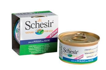 Консервы для котят Schesir, с цыпленком и алое, 85 г132.С185Консервы Schesir - это полнорационный корм для котят. Состав: куриное филе (61% минимум), подсолнечное масло 1,4%, алоэ 4,7%, рис 1%, минеральные вещества, овощной желатин. Пищевая ценность: белок 11%, масла и жиры 1%, клетчатка 0,1%, минеральные вещества 1%, влажность 86%. Витамины: А - 1700МЕ, D3 - 120МЕ, Е (альфа-токоферол) 180 мг, таурин - 200 мг, пентагидрат сульфата меди 3 мг. Вес: 85 г.
