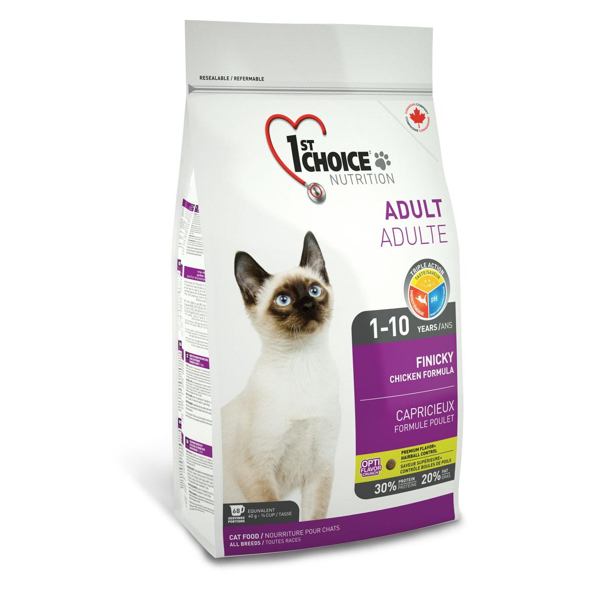 Корм сухой 1st Choice Adult для взрослых привередливых кошек, с курицей, 2,72 кг56672Сухой корм 1st Choice Adult специально создан для привередливых взрослых кошек с нормальной активностью и избирательным вкусом. Свежая курица и сельдь понравится самым привередливым в еде кошкам. Идеальное сочетание белков, жиров и углеводов обеспечивает максимально доступной энергией. Правильный рН-баланс помогает поддерживать здоровье мочевыделительной системы. Ингредиенты: свежая курица 17%, мука из мяса курицы 17%, рис, куриный жир, сохраненный смесью натуральных токоферолов витамин Е, гороховый протеин, коричневый рис, мука из сельди, сушеное яйцо, мякоть свеклы, специально обработанные ядра ячменя и овса, гидролизат куриной печени, клетчатка гороха, цельное семя льна, сушеная мякоть томата, жир лосося, калия хлорид, лецитин, холина хлорид, соль, кальция пропионат, натрия бисульфат, кальция карбонат, таурин, DL-метионин, L-лизин, экстракт дрожжей, железа сульфат, аскорбиновая кислота (витамин С), экстракт цикория, цинка оксид, натрия селенит, альфа-токоферол...