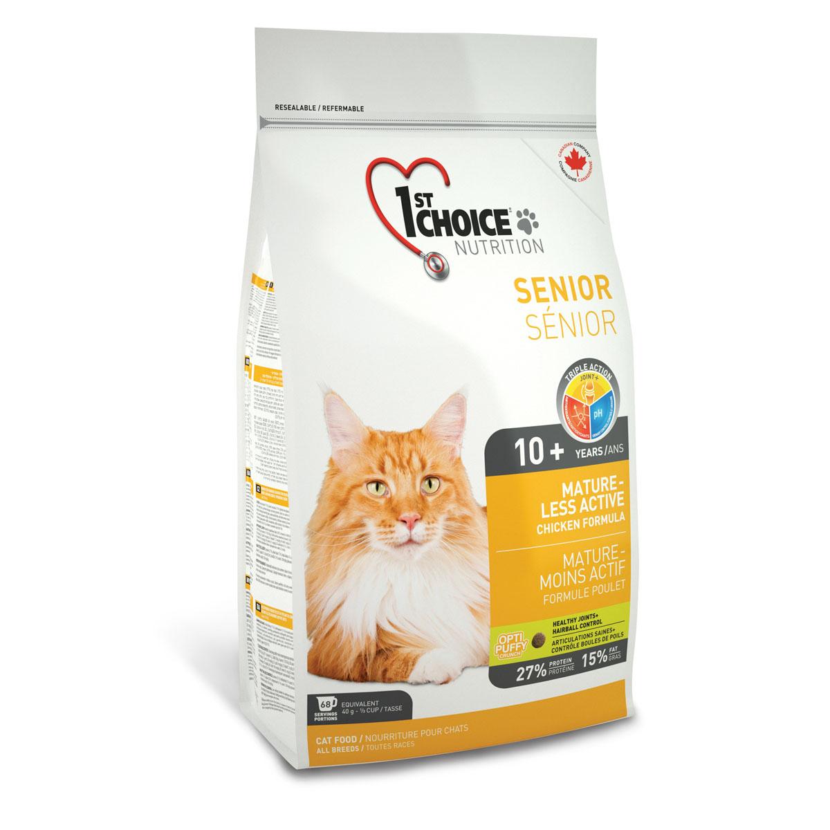 Корм сухой 1st Choice Mature Less Active для пожилых или малоактивных кошек, с курицей, 2,72 кг56678Сухой корм 1st Choice Mature Less Active - идеальный выбор для пожилого животного. Обогащенный глюкозамином и хондроитином, этот корм улучшает здоровье суставов и облегчает их подвижность. Специальные питательные вещества и антиоксиданты замедляют процесс старения. Идеальный рН-баланс поддерживает здоровье мочевыделительной системы. Также корм способствует укреплению костей и здоровью суставов. рН - контроль помогает снизить риск образования камней в мочевыделительной системе. Ингредиенты: свежая курица 17%, мука из мяса курицы 17% (натуральный источник глюкозамина и хондроитина), рис, коричневый рис, специально обработанные ядра ячменя и овса, гороховый протеин, куриный жир, сохраненный смесью натуральных токоферолов (витамин Е), сушеное яйцо, гидролизат куриной печени, мякоть свеклы, цельное семя льна, клетчатка гороха, сушеная мякоть томата, жир лосося, калия хлорид, лецитин, кальция карбонат, холина хлорид, соль, кальция пропионат, натрия бисульфат, экстракт...