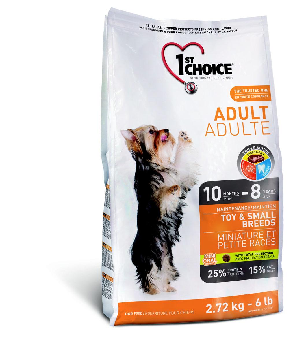 """Корм сухой 1st Choice """"Adult"""" для взрослых собак декоративных и мелких пород, с курицей, 2,72 кг"""