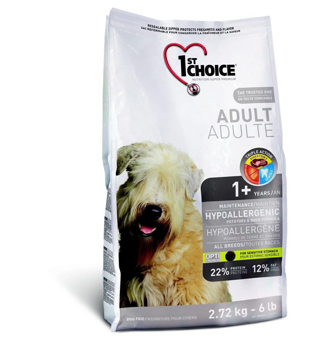 Корм сухой 1st Choice Adult для собак склонных к аллергии, с уткой и картофелем, 2,72 кг56687Корм сухой 1st Choice Adult с мясом утки и картофелем создан специально для взрослых собак с чувствительным желудком и страдающих пищевой аллергией. Свежая утка (источник гипоаллергенных протеинов) - главный ингредиент этой сбалансированной и вкусной формулы. Добавление натуральных пребиотиков, таких как экстракт цикория - источник инулина (фруктоолигосахарид) и дрожжевой экстракт (маннан-олигосахариды) способствует росту и развитию полезной кишечной микрофлоры, которая укрепляет иммунную систему организма. Экстракт имбиря снижает тошноту и газообразование. Превосходное сочетание экстракта зеленого чая, быстрорастворимого витамина С, клетчатки, мяты и петрушки освежает дыхание и обспечивает гигиену зубов и полости рта. Прекрасно адаптирован к короткому ЖКТ собак, особенно подходит для улучшения пищеварения. Хорошо подходит для короткого желудочно-кишечного тракта животных, особенно собакам, страдающим плохим пищеварением. Ингредиенты: картофельная...