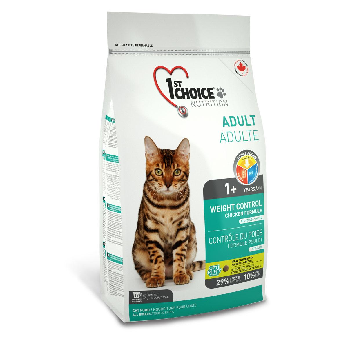 Корм сухой 1st Choice для кастрированных котов и стерилизованных кошек, с курицей, 5,44 кг57324Сухой корм 1st Choice с курицей разработан специально для стерилизованных и кастрированных животных, а также склонных к полноте. Низкокалорийный корм поддерживает идеальную форму. У кастрированных и стерилизованных кошек более низкий энергетический уровень обмена веществ и потребность в калориях. Низкое содержание жира в корме способствует снижению массы тела без сокращения нормы кормления. Снижение уровня активности кошки с возрастом может способствовать набору лишнего веса, эта формула удобна во всех случаях, когда необходимо ограничить количество калорий в рационе. рН - контроль помогает снизить риск образования камней в мочевыделительной системе. Клетчатка обеспечивает ощущение сытости и улучшает пищеварение. Ингредиенты: свежая курица 16%, мука из мяса курицы 16%, рис, гороховый протеин, коричневый рис, специально обработанные ядра ячменя и овса, мякоть свеклы, клетчатка гороха, гидролизат куриной печени, куриный жир, сохраненный смесью натуральных...