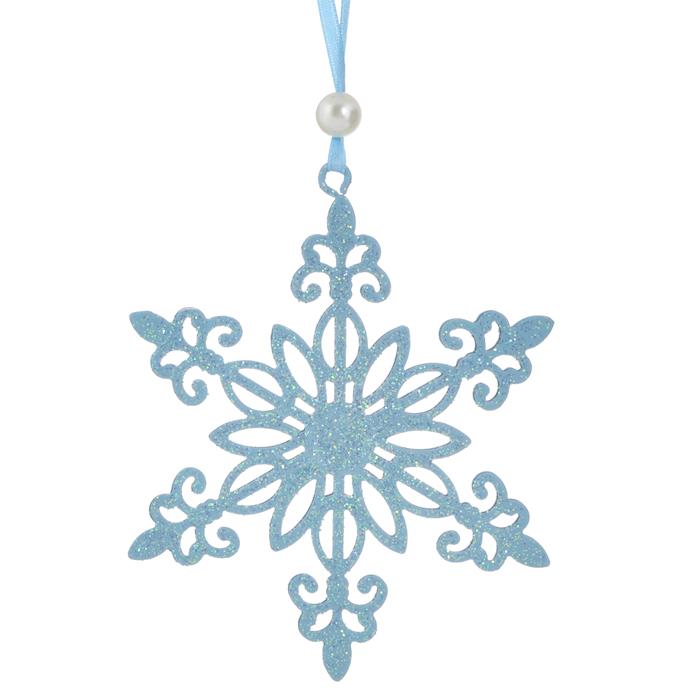 Новогоднее подвесное украшение Снежинка, цвет: голубой. 3106031060Оригинальное новогоднее украшение выполнено из металла в виде снежинки голубого цвета, украшенной блестками. С помощью текстильной ленточки, оформленной бусиной-жемчужиной, украшение можно повесить в любом понравившемся вам месте. Но, конечно, удачнее всего такая игрушка будет смотреться на праздничной елке. Новогодние украшения приносят в дом волшебство и ощущение праздника. Создайте в своем доме атмосферу веселья и радости, украшая всей семьей новогоднюю елку нарядными игрушками, которые будут из года в год накапливать теплоту воспоминаний. Характеристики: Материал: металл, текстиль, блестки, пластик. Цвет: голубой. Размер украшения: 10,5 см х 9,5 см. Артикул: 31060.