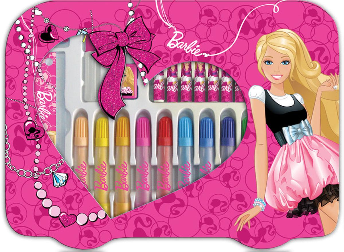 Набор для творчества (30 предметов) Barbie4603008184930В подарочном наборе для творчества есть все необходимое для создания детских живописных шедевров: 12 пастельных мелков, 12 ярких фломастеров, простой карандаш, линейка 15 см, зажим, ластик, клей и точилка. Набор упакован в красочный чемоданчик размером 25 х 33 х 2,5 см с ручкой и станет приятным сюрпризом для ребенка.