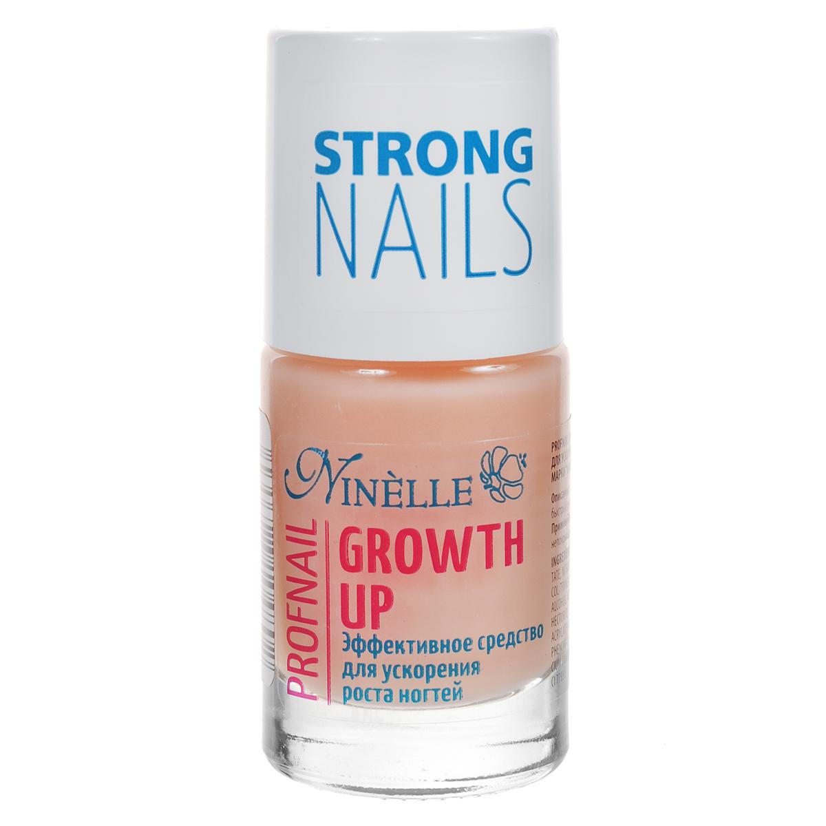 Ninelle Эффективное средство Growth Up для ускорения роста ногтей, 11 мл771N10480Эффективное средство по уходу за хрупкими и расслаивающимися ногтями, способствующее усиленному росту ногтей. В состав питательного средства входят кальций и экстракт сладкого миндаля. Средство стимулирует рост ногтей и предназначено для ухода за хрупкими и расслаивающимися ногтями. Подходит для ежедневного применения. Данный препарат обеспечивает ногтям максимально быстрый рост в течение 2-х недель. Товар сертифицирован.
