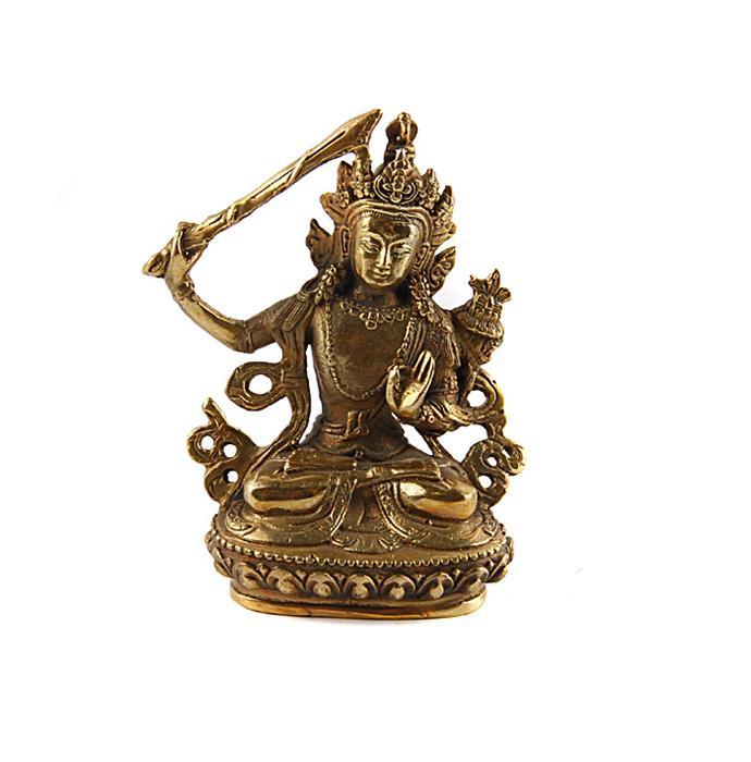 Статуэтка Манджушри. Бронза, прочеканка. Китай, вторая половина XX векаПБ ДПА 16082016-8Статуэтка Манджушри. Бронза, прочеканка. Китай, вторая половина XX века. Высота 9 см, длина 3 см, ширина 5,5 см. Сохранность очень хорошая. Культ Манджушри был особенно популярным в Тибете и в Китае, где его образ встречается во многих легендах. Этот легендарный бодхисаттва является воплощением наивысшей мудрости, легендарным сподвижником Будды Гаутамы. Прекрасный образец декоративно-прикладного искусства Тибета, оригинальный подарок почитателю буддийской культуры.