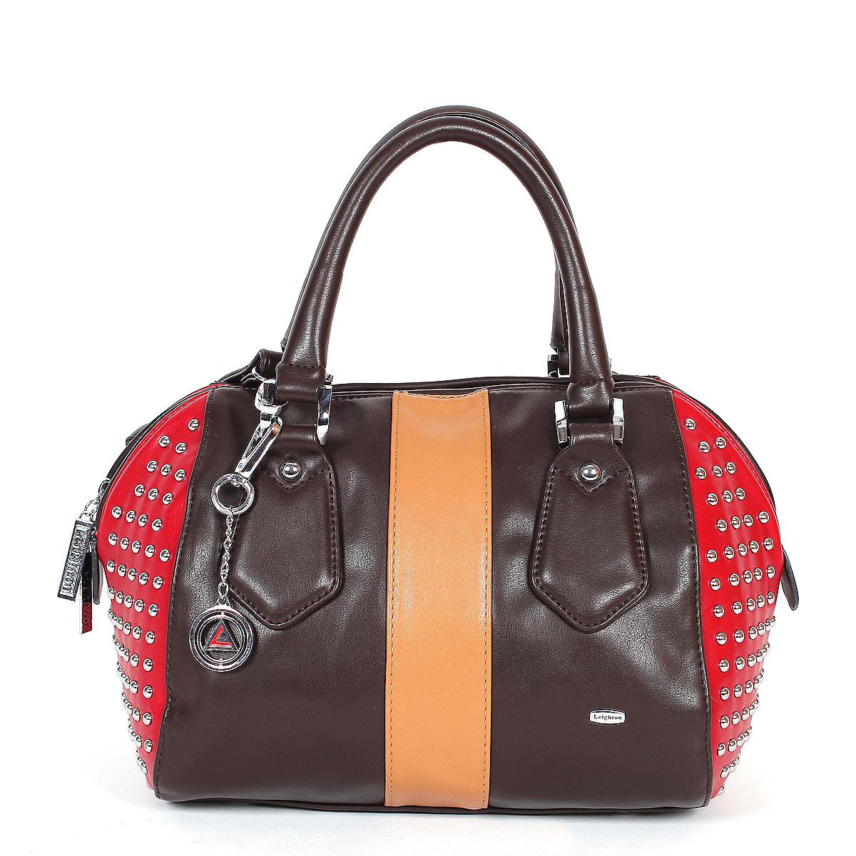 Сумка женская Leighton, цвет: коричневый, красный. 520306-1166/201/1166/619/1166/206520306-1166/201/1166/619/Стильная женская сумка Leighton выполнена из высококачественной искусственной кожи с отделкой из замши контрастного цвета. Боковые стороны сумки декорированы металлическими заклепками. Сумка имеет одно вместительное отделение, закрывающееся на застежку-молнию. Внутри располагается вшитый карман на застежке-молнии, образующий дополнительное малое отделение, а также два открытых кармана для мелочей и один прорезной карман на молнии. С внешней стороны на задней стенке расположен карман на молнии. Сумка оснащена двумя ручками. В комплекте чехол для хранения и плечевой ремень. Фурнитура - серебристого цвета. Сумка - это стильный аксессуар, который подчеркнет вашу индивидуальность и сделает ваш образ завершенным. Классическое цветовое сочетание, стильный декор, модный дизайн - прекрасное дополнение к гардеробу модницы.