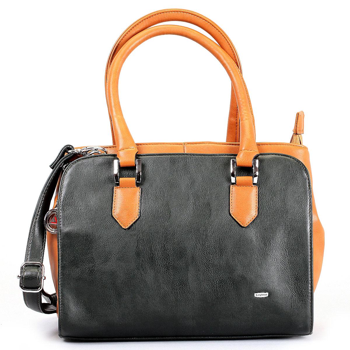 Сумка женская Leighton, цвет: черный, оранжевый. 520311-1591/12/1591/8520311-1591/1/1591/8Стильная женская сумка Leighton изготовлена из высококачественной искусственной кожи. Сумка состоит из двух отделений на застежке-молнии. Внутри первого - два накладных кармашка для мелочей, во втором - вшитый карман на молнии. На задней стенке сумки расположен дополнительный вшитый кармашек на молнии. Сумка имеет удобные ручки для переноски и плечевой ремень, регулирующийся по длине. Дно защищено металлическими ножками. По желанию можно украсить сумку входящей в комплект декоративной металлической подвеской. Сумка Leighton - это практичный и удобный аксессуар, который станет функциональным дополнением к любому стилю. Блестящий дизайн сумки, сочетающий классические формы с оригинальным оформлением, позволит вам подчеркнуть свою индивидуальность и сделает ваш образ изысканным и завершенным.