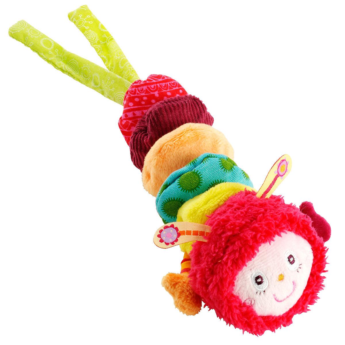 Развивающая игрушка-подвеска Lilliputiens Гусеница Джульетта86325Развивающая игрушка-подвеска Lilliputiens Гусеница Джульетта выполнена из хлопка разных фактур в виде забавной гусеницы. Ее мордашка вышита нитками, а тельце состоит из нескольких сшитых между собой частей. Две завязки позволяют подвесить игрушку к кроватке, коляске, автокреслу или игровой дуге малыша. Если потянуть голову гусеницы вниз и отпустить, она вернется обратно, издавая шум и вибрируя. Яркая игрушка-подвеска Lilliputiens Гусеница Джульетта поможет ребенку в развитии цветового и звукового восприятия, концентрации внимания, мелкой моторики рук, координации движений и тактильных ощущений.