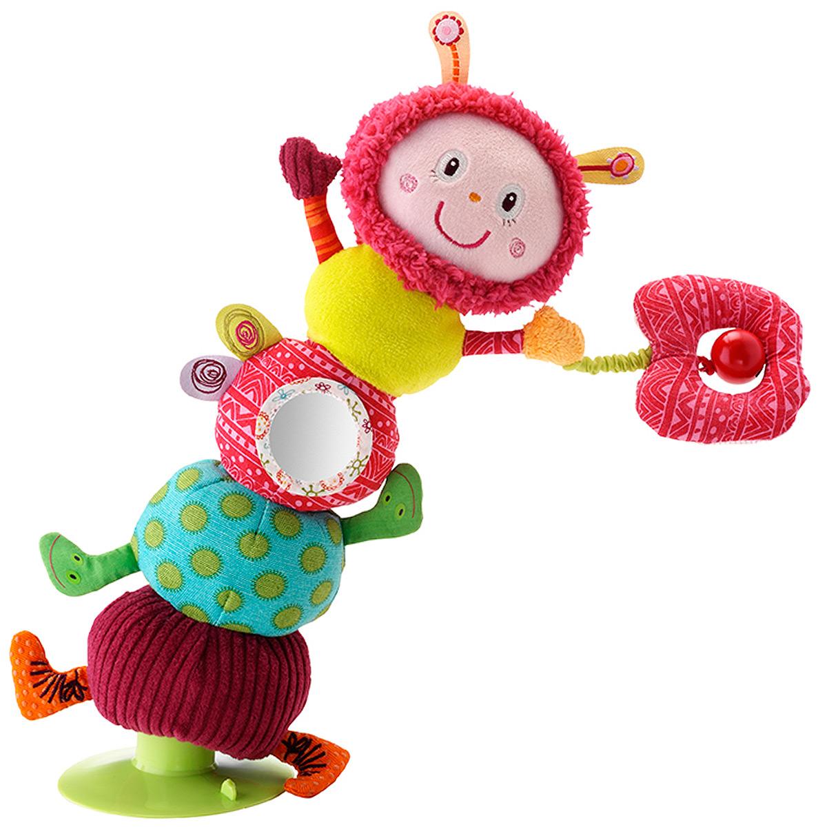 Развивающая игрушка Lilliputiens Гусеница Джульетта, на присоске86373Развивающая игрушка Lilliputiens Гусеница Джульетта привлечет внимание вашего малыша и не позволит ему скучать. Она выполнена из текстильного материала разных цветов и фактур в виде очаровательной гусеницы. В головке спрятана пищалка; тельце состоит из четырех секторов. На одной из них расположено безопасное мягкое зеркальце. К одной из передних лапках на резинку крепится шуршащее колечко с отверстием с металлическим колокольчиком. Благодаря присоске гусеницу можно закрепить на любой ровной поверхности. Ребенок сможет наклонять ее в любую сторону, после чего она вновь будет возвращаться в исходное положение. Игрушка Lilliputiens Гусеница Джульетта поможет ребенку развить цветовое и звуковое восприятие, тактильные ощущения, мелкую моторику рук и эмоциональное восприятие.