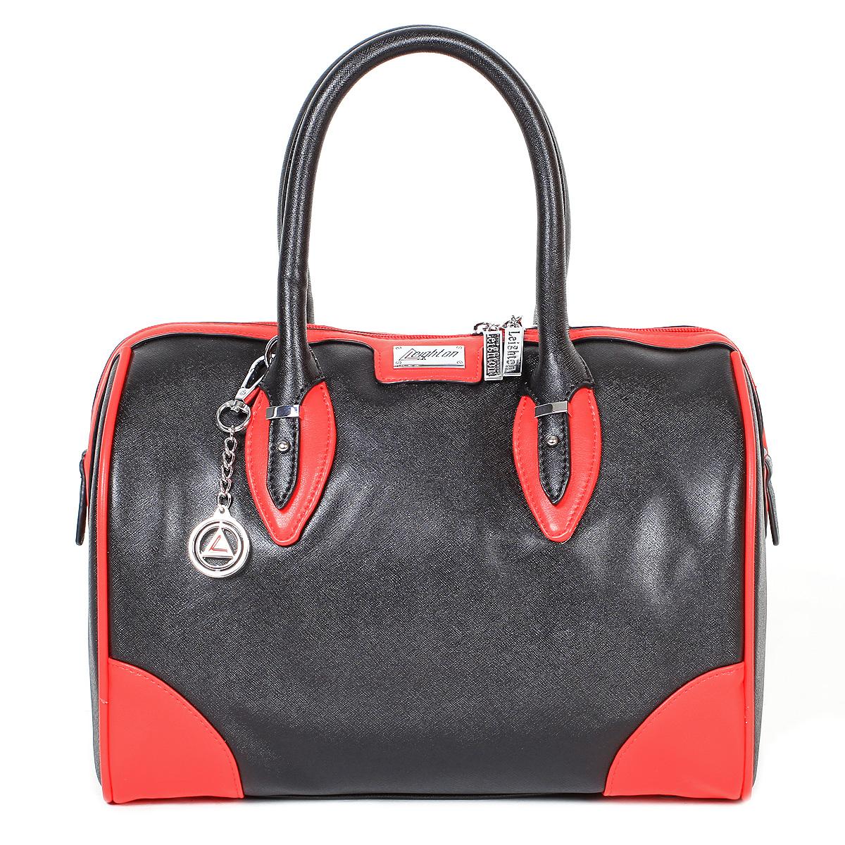Сумка женская Leighton, цвет: черный, красный. 9435-37699435-3769/1/1166/601Стильная женская сумка Leighton выполнена из высококачественной искусственной кожи с отделкой из кожи контрастного цвета, оформлена пластиной с логотипом бренда и брелоком. Сумка имеет одно вместительное отделение, закрывающееся на застежку-молнию. Внутри - два кармана на молниях и два накладных кармана для мелочей. С внешней стороны на задней стенке расположен карман на застежке-молнии. Дно дополнено металлическими ножками, защищающими изделие от повреждений. Сумка оснащена двумя ручками. В комплекте чехол для хранения и плечевой ремень. Фурнитура - серебристого цвета. Сумка - это стильный аксессуар, который подчеркнет вашу индивидуальность и сделает ваш образ завершенным. Классическое цветовое сочетание, стильный декор, модный дизайн - прекрасное дополнение к гардеробу модницы.
