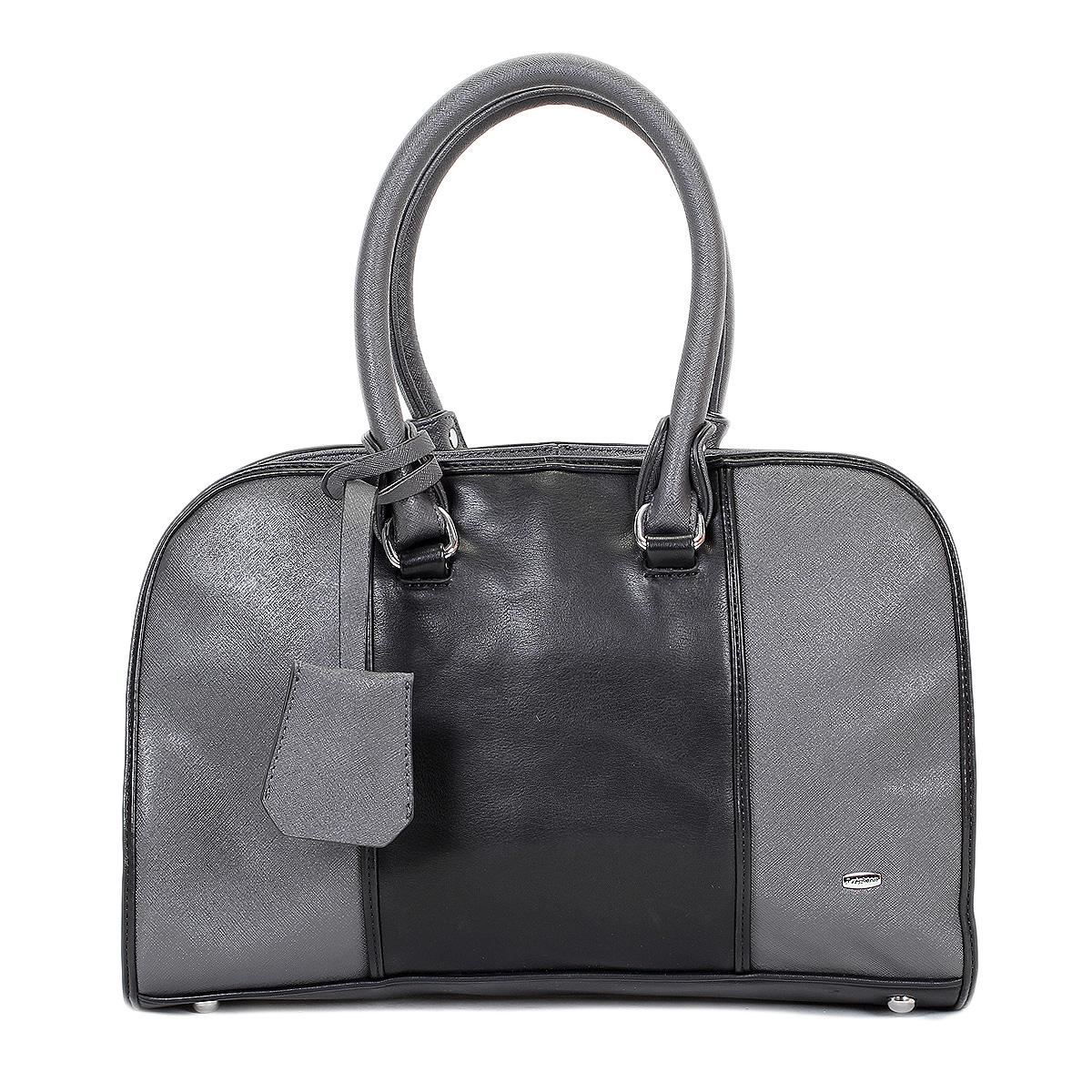 Сумка женская Leighton, цвет: черный, серый. 570353-3769/3/1166/101570353-3769/3/1166/101Стильная сумка Leighton выполнена из искусственной кожи с фактурной поверхностью и оформлена вставками из кожи контрастного цвета. Сумка имеет одно отделение, закрывающееся на застежку-молнию. Внутри располагается вшитый карман на застежке-молнии, образующий дополнительное малое отделение, а также два открытых кармана для мелочей и один прорезной карман на молнии. На задней стороне сумки имеется прорезной карман на молнии. Сумка оснащена двумя удобными ручками. Фурнитура выполнена из серебристого металла. По желанию сумку можно оформить входящей в комплект металлической подвеской с логотипом производителя. В комплекте чехол для хранения и съемный плечевой ремень. Сумка Leighton - это практичный и модный аксессуар, который станет функциональным дополнением к любому стилю. Блестящий дизайн сумки, сочетающий классические формы с оригинальным оформлением, позволит вам подчеркнуть свою индивидуальность и сделает ваш образ изысканным и завершенным.