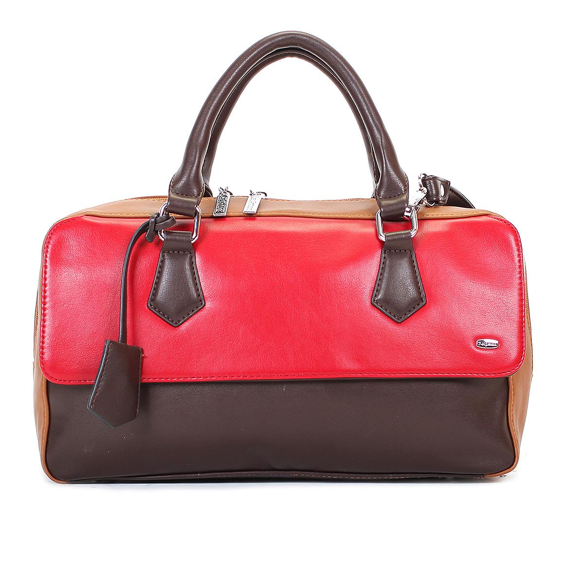 Сумка женская Leighton, цвет: коричневый, рыжий, темно-красный. 570425-1166/201/1166/619/1166/206570425-1166/201/1166/619/Стильная женская сумка Leighton выполнена из высококачественной искусственной кожи с отделкой из натуральной замши. Сумка имеет одно вместительное отделение, закрывающееся на застежку-молнию. Внутри - два кармана на молниях и два накладных кармана для мелочей. С внешней стороны под клапаном расположен вшитый карман на молнии, на задней стенке сумки - дополнительный карман на молнии. Сумка оснащена двумя ручками. В комплекте чехол для хранения и съемный плечевой ремень. Фурнитура - серебристого цвета. Сумка - это стильный аксессуар, который подчеркнет вашу индивидуальность и сделает ваш образ завершенным. Классическое цветовое сочетание, стильный декор, модный дизайн - прекрасное дополнение к гардеробу любой модницы.
