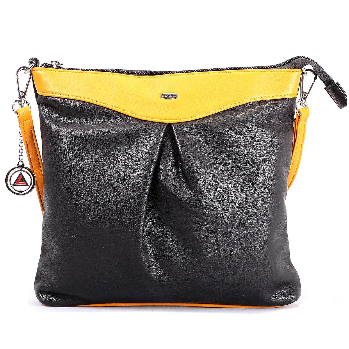 Сумка женская Leighton, цвет: черный, желтый. 570428-149/1/1166/805570428-149/1/1166/805Оригинальная женская сумка Leighton выполнена из высококачественной искусственной кожи. Сумка закрывается на молнию и имеет одно отделение. Внутри расположен смежный кармашек на молнии, вшивной карман на молнии и два нашивных кармана для мелочей. На задней стороне имеется карман на молнии. К сумке прилагается чехол для хранения, брелок с логотипом фирмы и съемный плечевой ремень. Сумка - это стильный аксессуар, который подчеркнет вашу изысканность и индивидуальность и сделает ваш образ завершенным.
