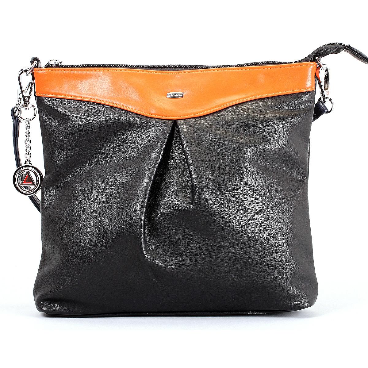 Сумка женская Leighton, цвет: черный, оранжевый, синий. 570428-3822/1/3822/2/1166/813570428-3822/1/3822/2/1166Стильная сумка Leighton выполнена из искусственной кожи с отделкой из кожи контрастного цвета. Сумка состоит из одного вместительного отделения на застежке-молнии. Внутри располагается средник на застежке-молнии, а также два открытых кармана для мелочей и один прорезной карман на молнии. Тыльная сторона сумки оснащена прорезным карманом на застежке-молнии. Сумка имеет удобный отстегивающийся наплечный ремень. Фурнитура серебристого цвета. По желанию сумку можно оформить входящей в комплект металлической подвеской с логотипом производителя. Сумка Leighton - это практичный и модный аксессуар, который станет функциональным дополнением к любому стилю. Блестящий дизайн сумки, сочетающий классические формы с оригинальным оформлением, позволит вам подчеркнуть свою индивидуальность и сделает ваш образ изысканным и завершенным.