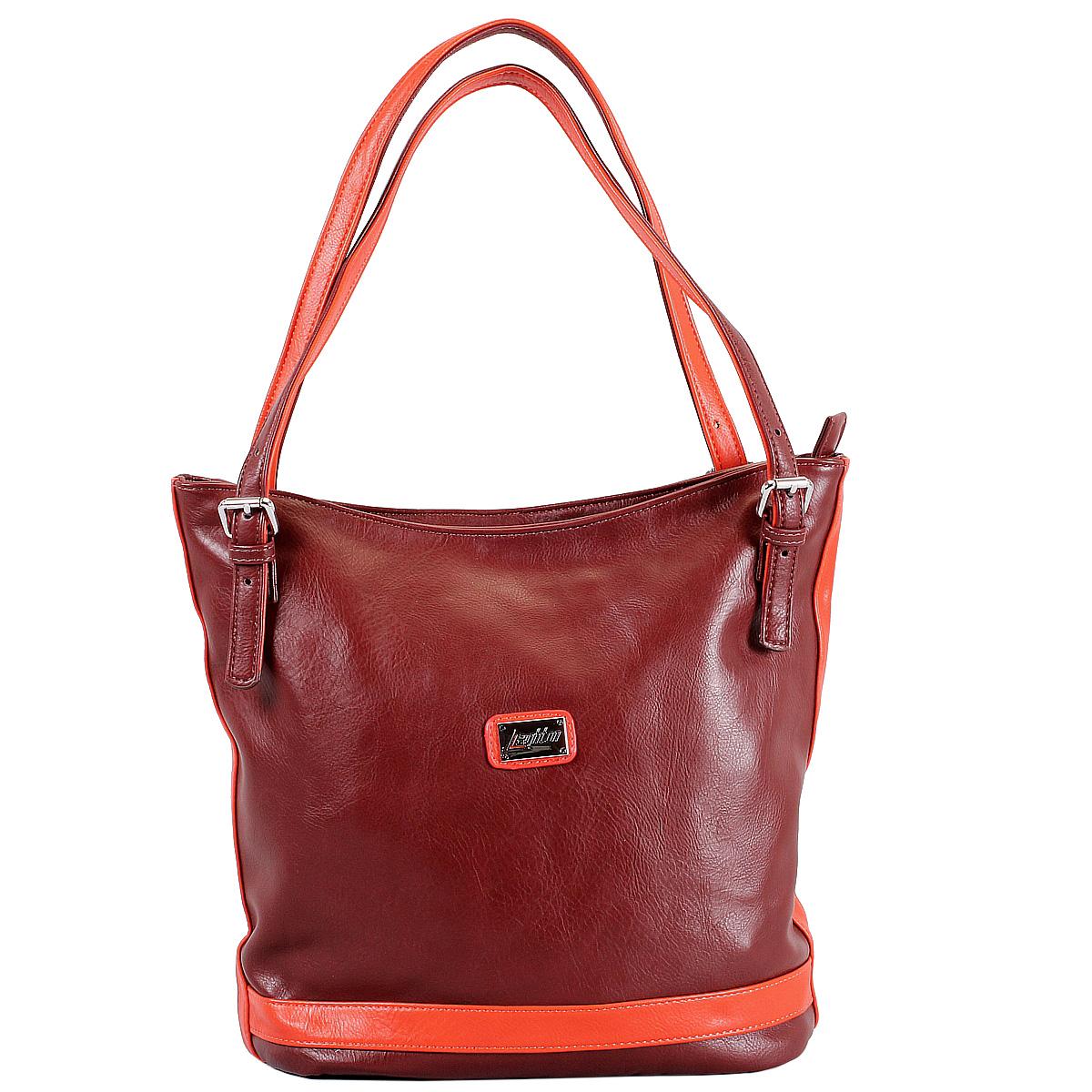 Сумка женская Leighton, цвет: бордовый, оранжевый. 76618-292/42/292/5276618-292/42/292/52 бордоСтильная женская сумка Leighton выполнена из высококачественной искусственной кожи с отделкой из кожи контрастного цвета. Сумка имеет одно вместительное отделение, закрывающееся на застежку-молнию. Внутри - смежный карман на молнии, вшитый карман на молнии и два накладных кармана для мелочей. С внешней стороны на задней стенке расположен карман на молнии. Сумка оснащена двумя ручками, позволяющими носить ее на плече. В комплекте чехол для хранения. Фурнитура - серебристого цвета. Сумка - это стильный аксессуар, который подчеркнет вашу индивидуальность и сделает ваш образ завершенным. Классическое цветовое сочетание, стильный декор, модный дизайн - прекрасное дополнение к гардеробу модницы.