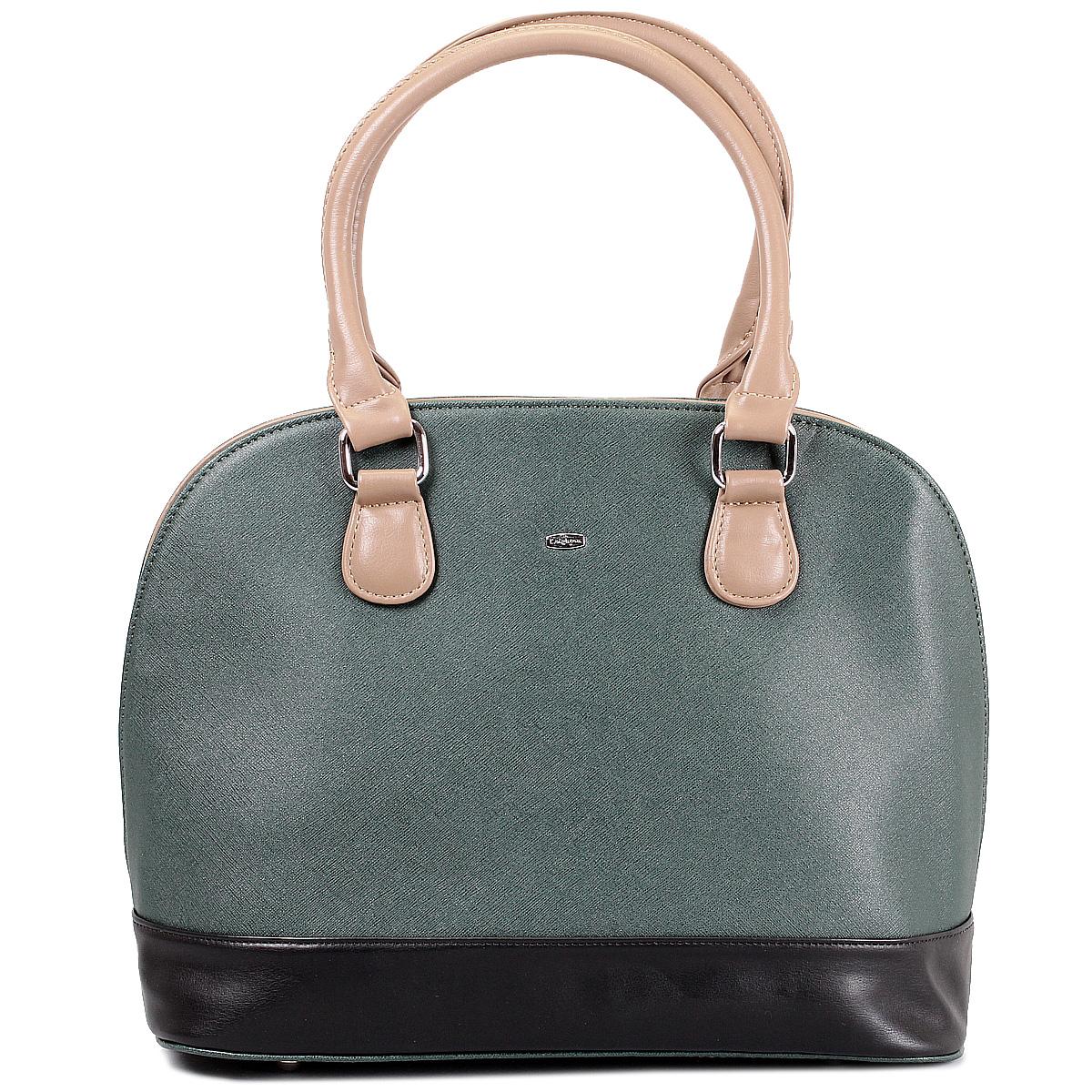 Сумка женская Leighton, цвет: зеленый, бежевый. 62156-3769/6/1166/101/1166/90862156-3769/6/1166/101/116Стильная женская сумка Leighton выполнена из высококачественной искусственной кожи с отделкой контрастного цвета. Сумка имеет одно вместительное отделение, закрывающееся на застежку-молнию. Внутри - два кармана на молнии и два накладных кармана для мобильного телефона и прочих мелочей. С внешней стороны на задней стенке сумки расположен вшитый карман на молнии. Сумка оснащена двумя удобными ручками, позволяющими носить ее на плече. В комплекте чехол для хранения. Фурнитура - серебристого цвета. Сумка - это стильный аксессуар, который подчеркнет вашу индивидуальность и сделает ваш образ завершенным. Классическое цветовое сочетание, стильный декор, модный дизайн - прекрасное дополнение к гардеробу модницы.