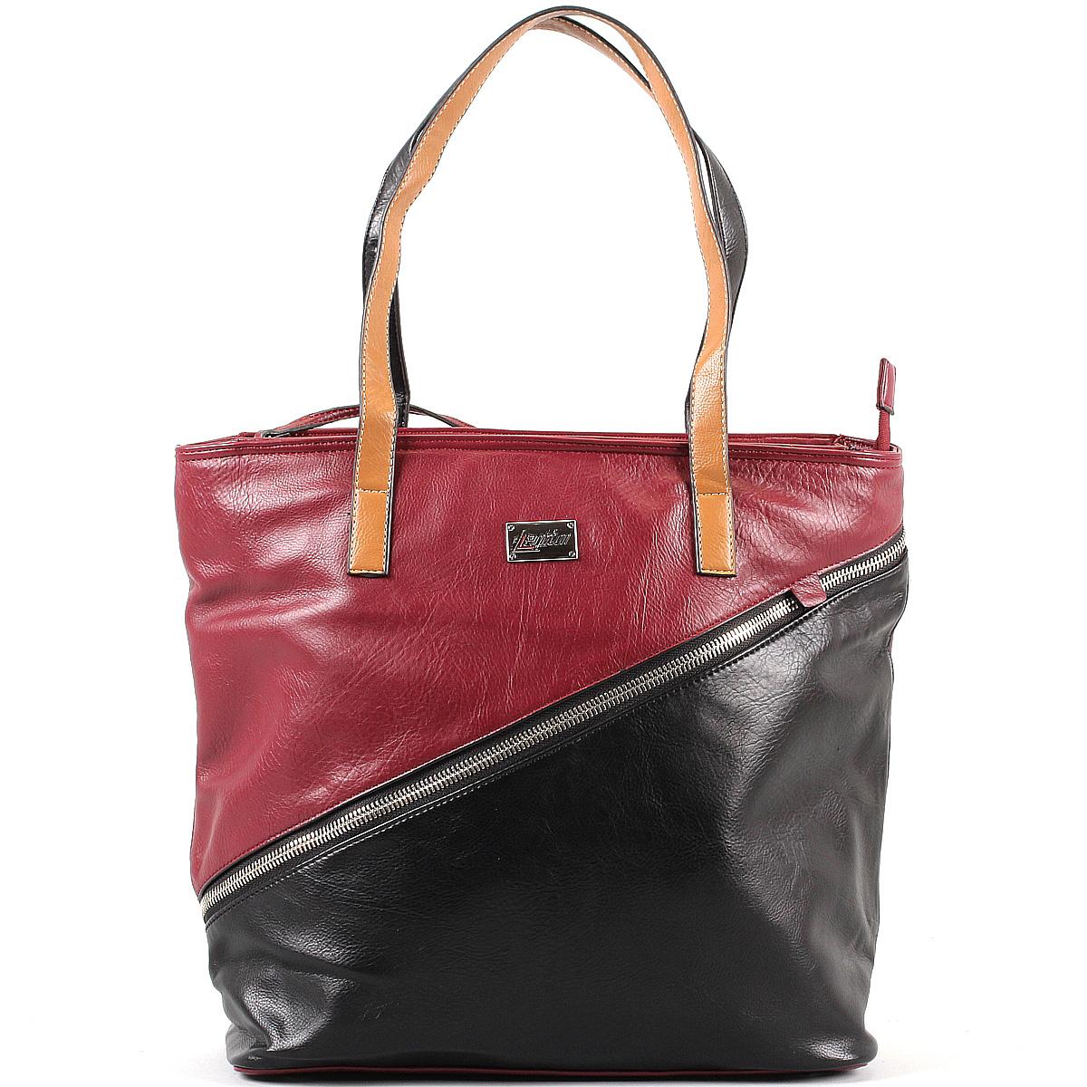 Сумка женская Leighton, цвет: черный, бордовый. 570505-5590/292/46/292/26570505-5590/292/46/292/26Стильная женская сумка Leighton выполнена из высококачественной искусственной кожи с отделкой из кожи контрастного цвета. Лицевая сторона оформлена металлической молнией, вшитой по диагонали. Сумка имеет одно вместительное отделение, закрывающееся на застежку-молнию. Внутри - смежный карман на молнии, вшитый кармашек на молнии и два накладных кармана для мелочей. С внешней стороны по диагонали расположен вшитый карман на молнии, на задней стенке расположен карман на молнии. Сумка оснащена двумя ручками, позволяющими носить ее на плече. В комплекте чехол для хранения. Фурнитура - серебристого цвета. К сумке прилагается кошелек на молнии. Сумка - это стильный аксессуар, который подчеркнет вашу индивидуальность и сделает ваш образ завершенным. Классическое цветовое сочетание, стильный декор, модный дизайн - прекрасное дополнение к гардеробу модницы.