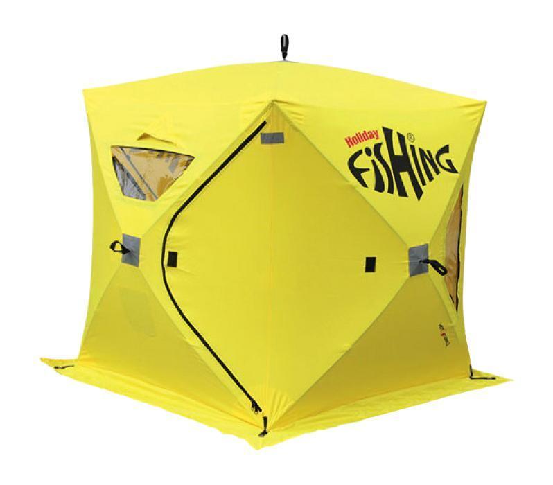 Палатка зимняя Holiday Fishing HOT CUBE3 175x175x195. H-10561H-10561Быстросборные/разборные палатки каркасной конструкции. Каркас из стекловолокна обеспечивает надежное сохранение кубической формы в самый сильный ветер и препятствует накоплению влаги и снега на крыше палаток. Тент - прочный, водостойкий и термосберегающий материал, с широкой по всему периметру снегозащитной юбкой. Четыре больших прозрачных окна при необходимости можно снять или полностью закрыть в зависимости от условий ловли. Снаружи палаток пришиты светоотражающие элементы безопасности. При транспортировке палатка складывается в прочную сумку-чехол. • 3-х местная палатка • полуавтоматическое раскладывание/складывание • каркас: трубчатое стекловолокно диаметром 10мм • материал: Полиэстер 400D с PU покрытием • водостойкость 2000 мм. • 2 раздельных входа, оборудованных прочными замками-молниями • 4 прозрачных пластиковых окна • регулируемые вентиляционные окна с ветровым клапаном • 6 буравчиков-ввертышей • 4 прочные оттяжки • расцветка палатки - желтая • сумка-чехол для транспортировки