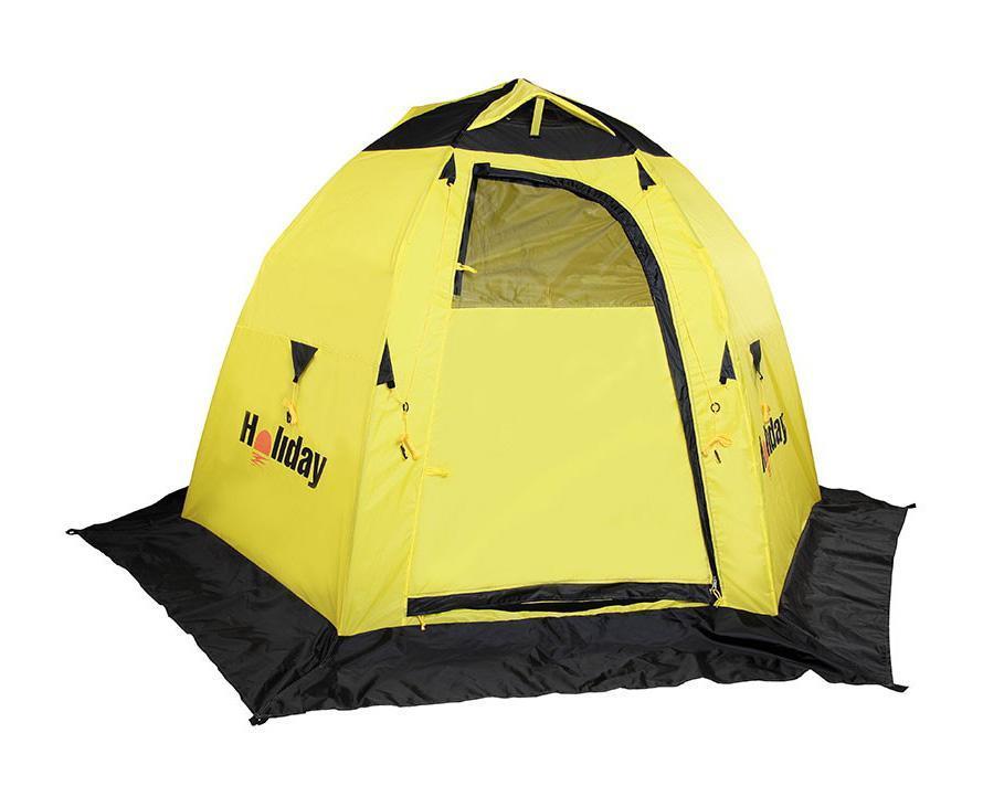 Палатка рыболовная зимняя Holiday EASY ICE 6 угл. 210x245 x155. H-10531H-10531Полуавтоматическая палатка, открывающаяся по типу зонтика. Каркас – трубчатое стекловолокно диаметром 8 мм. Жесткая конструкция легко разбирается и компактно укладывается в сумку для переноски. Палатка оборудована 2 раздельными входами, оборудованными двухсторонними замками-молниями. На каждом входе имеется окно с сеткой. С помощью шторок можно регулировать освещенность внутри палатки, полностью открыв или закрыв их. В верхней части расположены вентиляционные отверстия, которые при необходимости можно закрыть. Внутри палатки, на стенках, 4 кармана для рыболовных мелочей. Снизу, по периметру палатки – снегозащитная юбка – полог. Для надежного закрепления палатки на льду используется прилагаемый комплект растяжек и крючков.. Материал: Полиэстер с PU покрытием. Размер в сложенном виде (см): 104х15х15. Вес (кг): 4,130 кг.