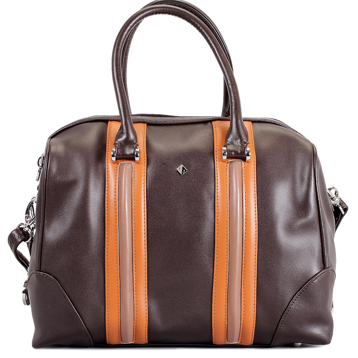 Сумка женская Flioraj, цвет: темно-коричневый, рыжий, капучино. 580434-1B-12/29/11580434-1B-12/29/11 кор/рыжСтильная женская сумка Flioraj выполнена из высококачественной натуральной кожи с отделкой в виде кожаных вставок контрастного цвета. Сумка имеет одно отделение, закрывающееся на застежку-молнию. Внутри - два кармана на застежка-молниях и два накладных кармашка для мелочей. Сумка оснащена двумя удобными ручками, съемным плечевым регулируемым ремнем на карабинах и жестким основанием с четырьмя ножками. Сумка украшена металлическим брелоком в виде логотипа фирмы. Элегантность этой сумочки определяется игрой линий и форм, которые сочетаются с модным декором. Ее обладательница привыкла брать от жизни все и наслаждаться каждым ее моментом. Такая сумка станет идеальным дополнением к вашему образу!