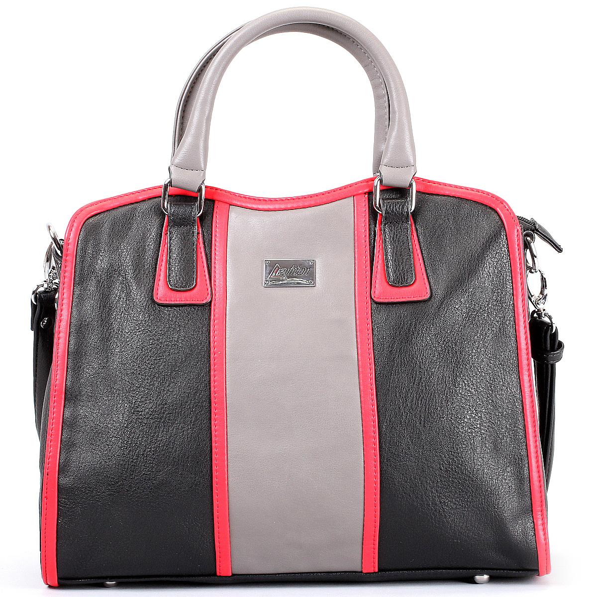 Сумка женская Leighton, цвет: черный, серый, красный. 580403-3822/1/1166/931/1166/601 ( 580403-3822/1/1166/931/11 )