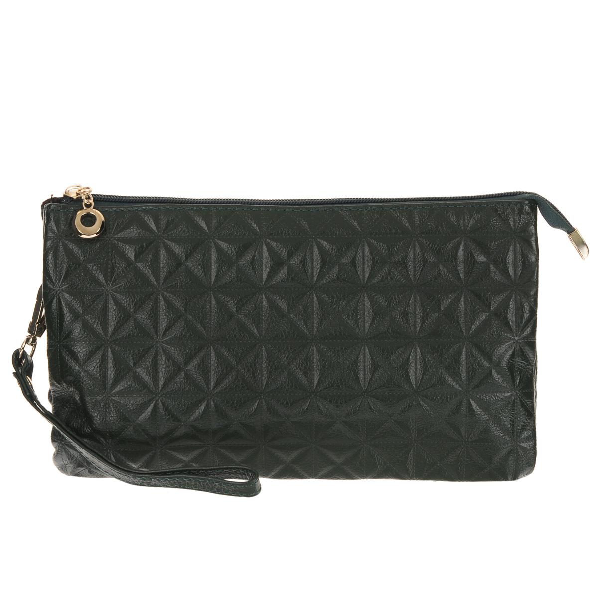 Сумка женская Fancys Bag, цвет: зеленый. B2600-65 - FancyS BagB2600-65Ультрамодная женская сумка Fancys Bag изготовлена из натуральной кожи и декорирована тисненым геометрическим узором. Изделие закрывается на удобную застежку-молнию. Внутреннее отделение разделено посередине карманом. В первом отсеке - один карман для мелочей и четыре прорези для кредитных карт, во втором - врезной карман на застежке-молнии. Тыльная сторона также дополнена карманом на застежке-молнии. В комплект с сумкой входят ручка на запястье и длинный плечевой ремень регулируемой длины. Очаровательная сумка добавит женственных ноток в модный образ и подчеркнет ваш отменный вкус.