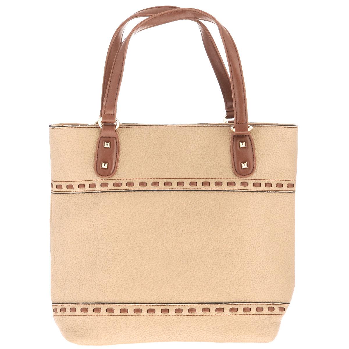Сумка женская Fancys Bag, цвет: бежевый, коричневый. SP-616-61SP-616-61Стильная женская сумка Fancys Bag выполнена из экокожи и оформлена с обеих сторон декоративной прострочкой. Ручки у основания дополнены металлическими шипами. Изделие закрывается на удобную застежку-молнию. Внутреннее отделение содержит небольшой смежный отсек, два врезных кармана на застежках-молниях и два накладных карманчика для мелочей. Дно оснащено ножками из металла, которые защищают сумку от повреждений. К изделию прилагается фирменный текстильный чехол. Изысканная сумка займет достойное место среди вашей коллекции аксессуаров и подчеркнет ваш безупречный вкус.