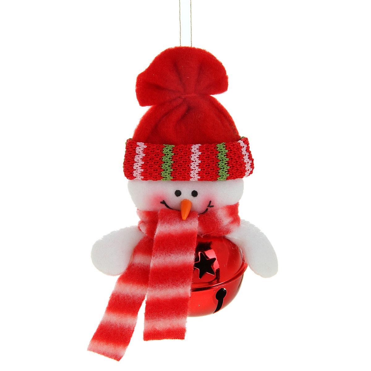 Новогоднее подвесное украшение Sima-land Снеговик, цвет: красный, 11 см х 7 см. 514038514038Новогоднее украшение Sima-land Снеговик прекрасно подойдет для праздничного декора вашего дома. Сувенир выполнен в виде металлического шара с текстильной фигуркой снеговика. Если встряхнуть украшение, вы услышите красивое мелодичное звучание. Изделие оснащено текстильной петелькой для подвешивания. Такая оригинальная фигурка оформит интерьер вашего дома или офиса в преддверии Нового года. Оригинальный дизайн и красочное исполнение создадут праздничное настроение. Кроме того, это отличный вариант подарка для ваших близких и друзей. Материал: металл, пластик, текстиль.