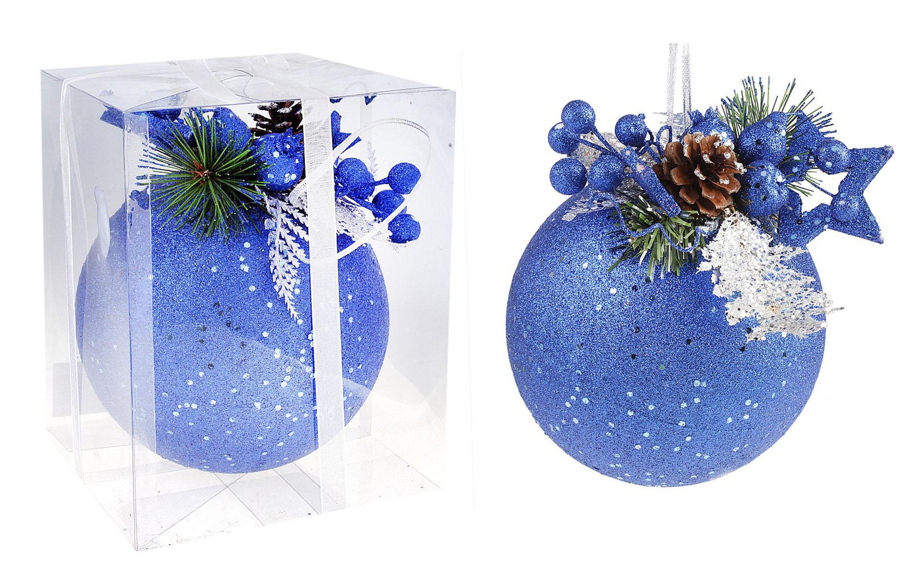 Новогоднее подвесное украшение Sima-land Шар, цвет: синий, диаметр 15 см. 542593542593Новогоднее подвесное украшение Sima-land Шар, выполненное из пластика, прекрасно подойдет для праздничного декора новогодней ели. Шар украшен веточками ели, звездой и шишкой. Изделие покрыто блестками. Для удобного размещения на елке для шара предусмотрена текстильная петелька. Елочная игрушка - символ Нового года. Она несет в себе волшебство и красоту праздника. Создайте в своем доме атмосферу веселья и радости, украшая новогоднюю елку нарядными игрушками, которые будут из года в год накапливать теплоту воспоминаний. Коллекция декоративных украшений принесет в ваш дом ни с чем несравнимое ощущение волшебства! Откройте для себя удивительный мир сказок и грез. Почувствуйте волшебные минуты ожидания праздника, создайте новогоднее настроение вашим дорогим и близким. Диаметр шара: 15 см. Материал: пластик, текстиль.