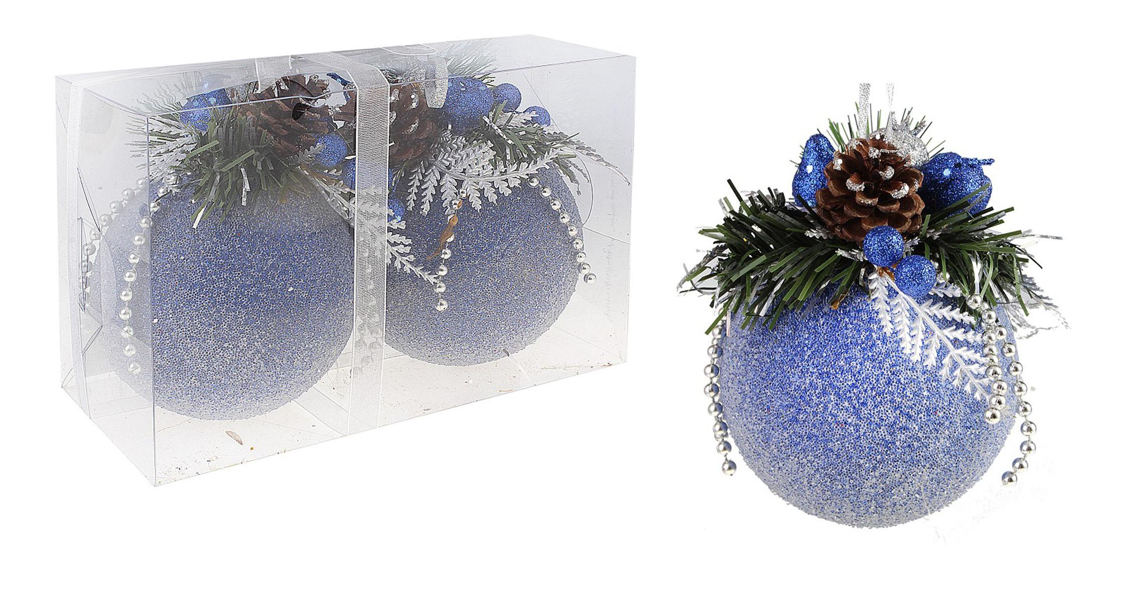 Набор новогодних подвесных украшений Sima-land Шар, цвет: синий, диаметр 10 см, 2 шт. 542597542597Набор новогодних подвесных украшений выполнен из рельефного пластика в форме шаров. Каждый шар оформлен декоративной композицией из еловых веток и шишек, пластиковых ягод, груш, листьев и бус. С помощью специальной петельки украшение можно повесить в любом понравившемся вам месте. Но, конечно, удачнее всего такой набор будет смотреться на праздничной елке. Елочная игрушка - символ Нового года. Она несет в себе волшебство и красоту праздника. Создайте в своем доме атмосферу веселья и радости, украшая новогоднюю елку нарядными игрушками, которые будут из года в год накапливать теплоту воспоминаний.