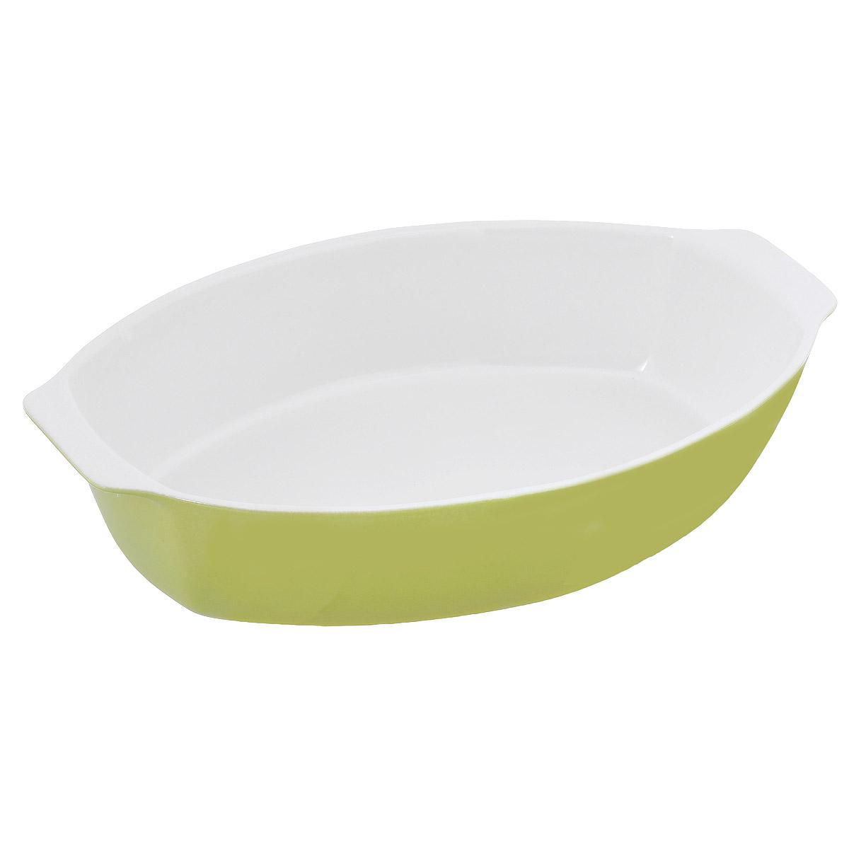 Емкость для запекания OvenLove, овальная, цвет: зеленый, 39 см х 24 см х 8 см104367Емкость для запекания OvenLove изготовлена из жаропрочной керамики с глазурованной поверхностью. Керамическая посуда идеальна для тушения и томления блюд в духовке, блюда получаются вкусными и сочными, сохраняя при этом все полезные вещества. Абсолютно гладкая поверхность легко моется. Внешние стенки цветные. Емкость оснащена удобными ручками. Можно использовать в духовом шкафу при температуре до 250°С, в микроволновой печи, а также в посудомоечной машине. Подходит для хранения пищи в холодильнике.