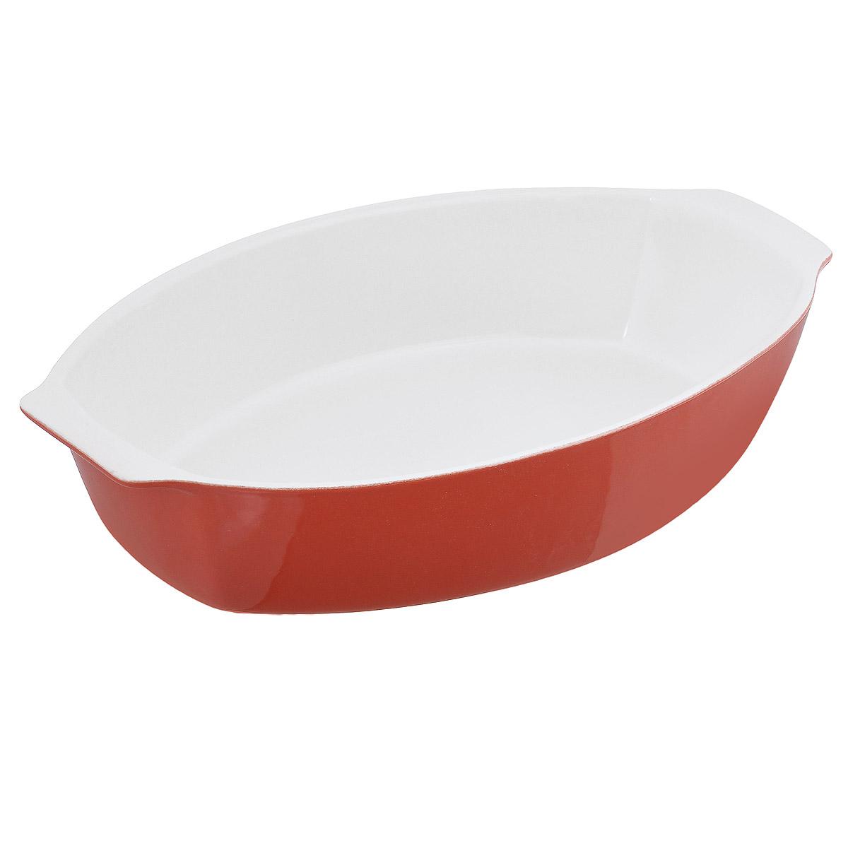 Емкость для запекания OvenLove, овальная, цвет: красный, 39 х 24 х 8 см104369Емкость для запекания OvenLove изготовлена из жаропрочной керамики с глазурованной поверхностью. Керамическая посуда идеальна для тушения и томления блюд в духовке, блюда получаются вкусными и сочными, сохраняя при этом все полезные вещества. Абсолютно гладкая поверхность легко моется. Внешние стенки цветные. Емкость оснащена удобными ручками. Можно использовать в духовом шкафу при температуре до 250°С, в микроволновой печи, а также в посудомоечной машине. Подходит для хранения пищи в холодильнике.