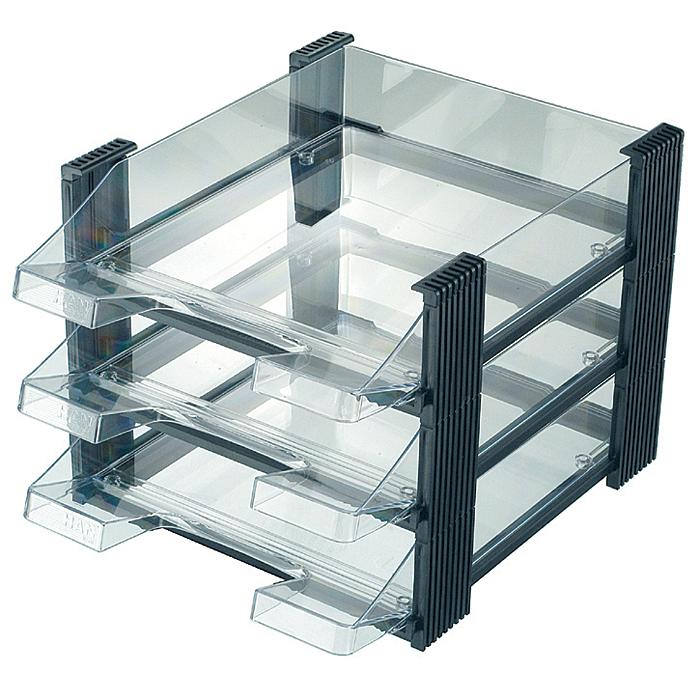 Лоток для бумаг горизонтальный HAN Brillant, 3 секции, цвет: черный, прозрачныйHA1023/83Горизонтальный лоток для бумаг HAN Brillant поможет вам навести порядок на столе и сэкономить пространство. Лоток состоит из 3 вместительных секций, и, благодаря оригинальному дизайну и классической форме, органично впишется в любой интерьер. Секции могут сдвигаться относительно друг друга, что позволяет настроить лоток так, как будет удобно именно вам. Лоток изготовлен из полупрозрачного антистатического пластика. Приподнятый передний бортик облегчает изъятие бумаг из накопителя. Лоток имеет пластиковые ножки, предотвращающие скольжение по столу и обеспечивающие необходимую устойчивость. Благодаря лотку для бумаг, важные бумаги и документы не потеряются и всегда будут под рукой.