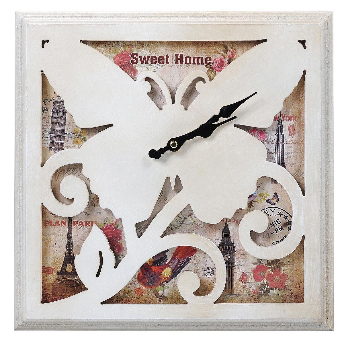 Часы настенные Sweer Home. 3038130381Настенные кварцевые часы квадратной формы Sweer Home изящно украсят интерьер дома или офиса. Корпус часов, выполненный из МДФ, оформлен красочным изображением и декоративным элементом в виде бабочки. Часы оснащены двумя фигурными стрелками - часовой и минутной. Циферблат не защищен стеклом. Часы работают от одной батарейки типа АА мощностью 1,5V (в комплект не входит).