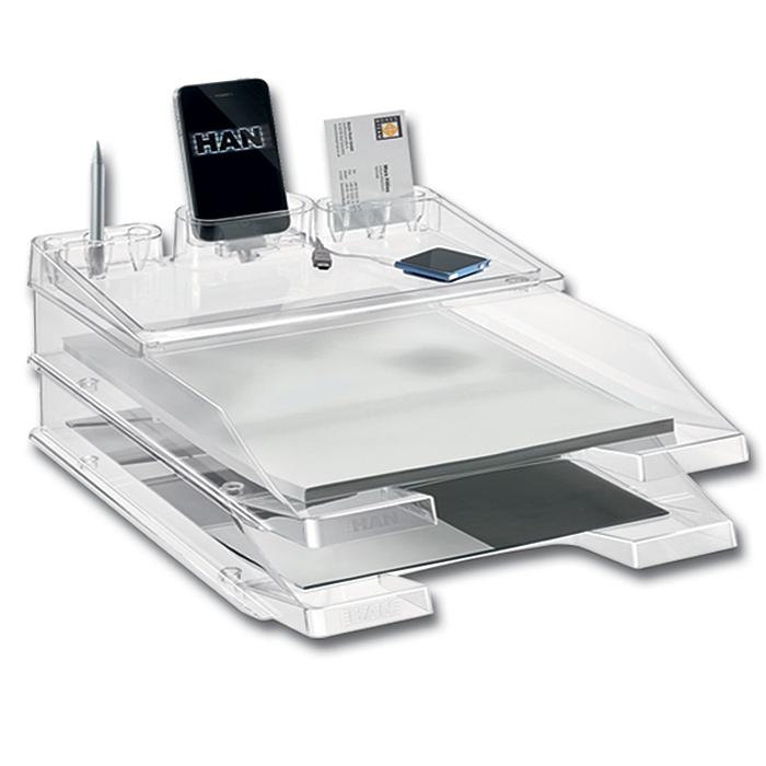 Лоток для бумаг HAN ProSet, горизонтальный, 2 секции, прозрачный, цвет: белыйHA10279/23Горизонтальный лоток для бумаг HAN ProSet поможет вам навести порядок на столе и сэкономить пространство. Комплект включает в себя 2 лотка Elegance и оригинальную подставку iStep, оснащенную практичными ячейками для визитных и банковских карт, мобильного телефона и канцелярских принадлежностей, а также надстраиваемой полочкой для офисных мелочей. Лоток изготовлен из высококачественного прозрачного антистатического пластика. Приподнятый передний бортик облегчает изъятие бумаг из накопителя. На фронтальной стороне лотка расположено прозрачное окошко для этикетки. Лоток имеет пластиковые ножки, предотвращающие скольжение по столу и обеспечивающие необходимую устойчивость. Лоток для бумаг станет незаменимым помощником для работы с бумагами дома или в офисе, а его стильный дизайн впишется в любой интерьер. Благодаря лотку для бумаг, важные бумаги и документы всегда будут под рукой.