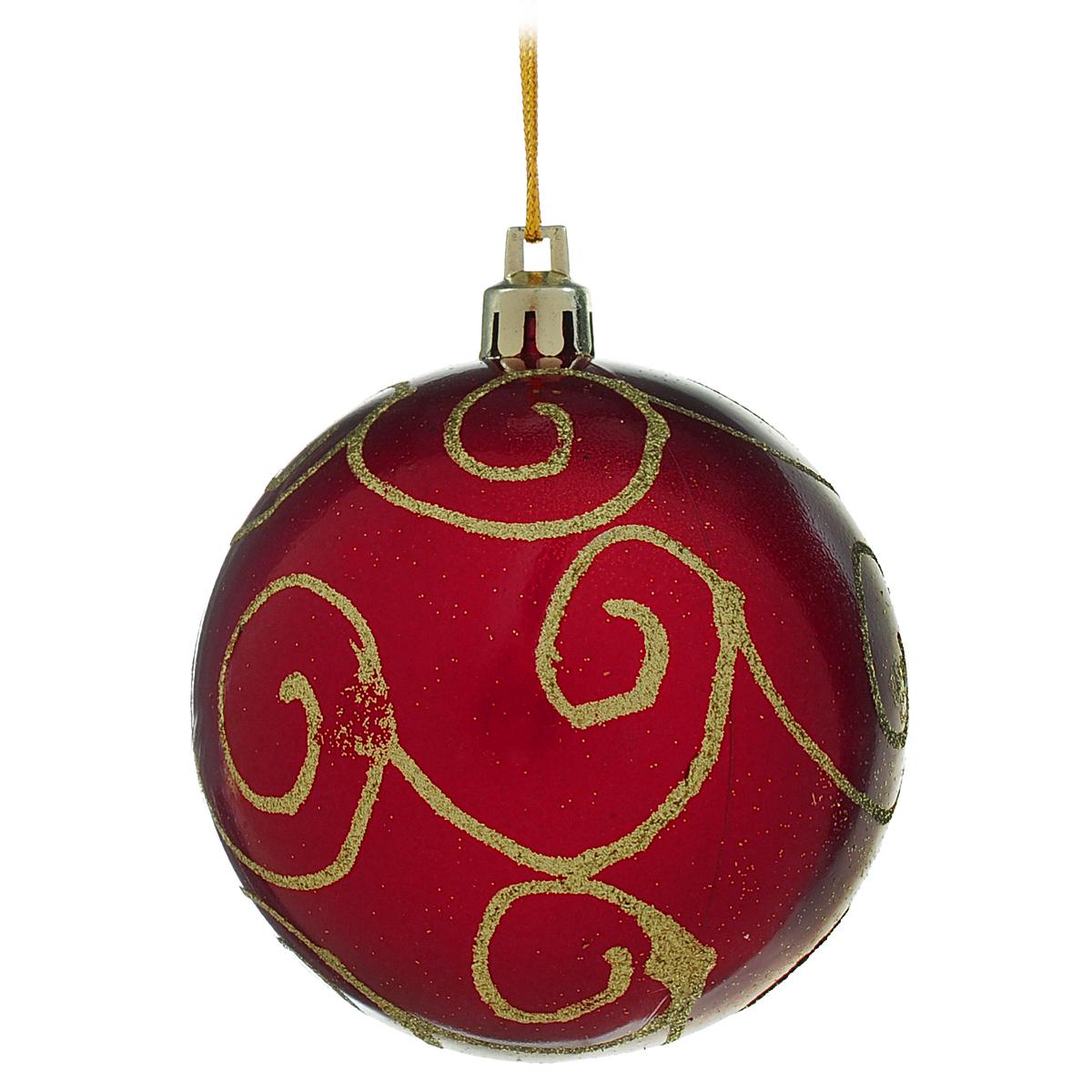 Новогоднее подвесное украшение Шар, цвет: красный, золотистый. DB13057DB13057Новогоднее подвесное украшение Шар выполнено из высококачественного пластика и декорировано блестками. С помощью специальной текстильной петельки украшение можно повесить в любом понравившемся вам месте. Но, конечно, удачнее всего такой шар будет смотреться на праздничной елке. Елочная игрушка - символ Нового года. Она несет в себе волшебство и красоту праздника. Создайте в своем доме атмосферу веселья и радости, украшая новогоднюю елку нарядными игрушками, которые будут из года в год накапливать теплоту воспоминаний.