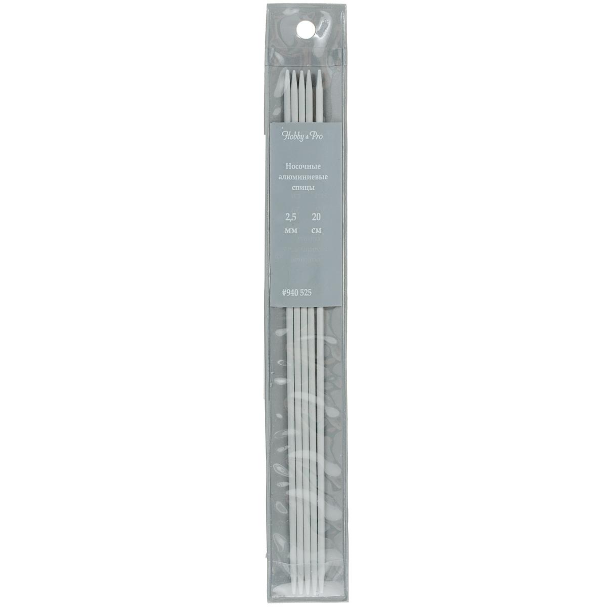 Спицы носочные Hobby & Pro, алюминиевые, прямые, диаметр 2,5 мм, длина 20 см, 5 шт7700048Спицы для вязания Hobby & Pro изготовлены из высококачественного алюминия с тефлоновым покрытием. Спицы прочные, легкие, гладкие, удобные в использовании. Кончики спиц закругленные. Спицы без ограничителей предназначены для вязания шапочек, варежек и носков. Вы сможете вязать для себя и делать подарки друзьям. Рукоделие всегда считалось изысканным, благородным делом. Работа, сделанная своими руками, долго будет радовать вас и ваших близких.