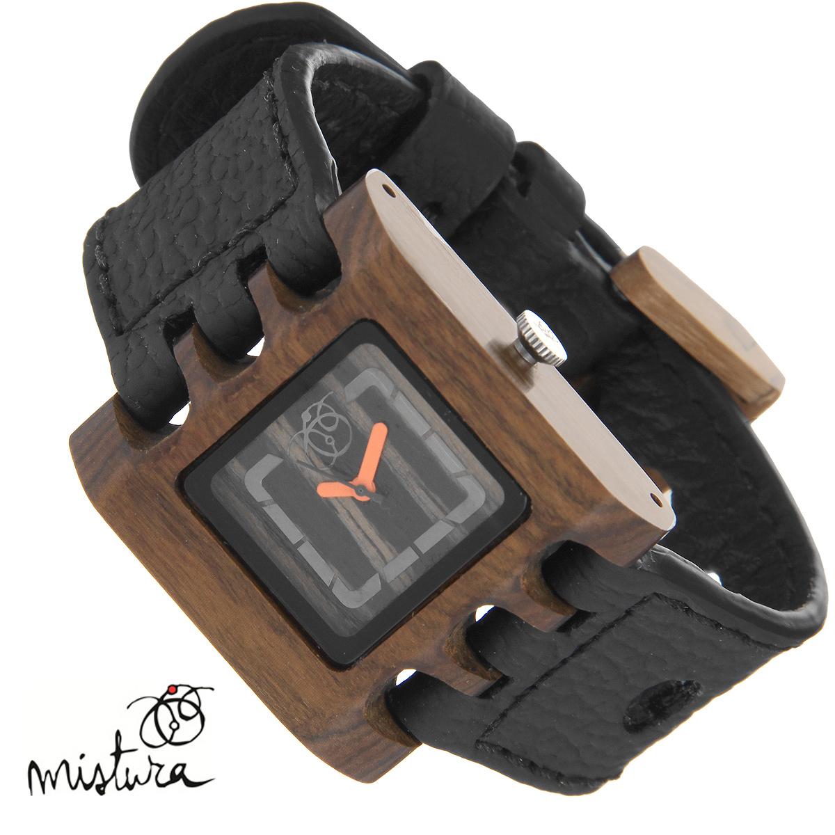 Часы наручные Mistura Quadrato, цвет: черный. TP09009BKPUEBWDTP09009BKPUEBWDxНаручные часы Mistura благодаря своему эксклюзивному дизайну позволят вам выделиться из толпы и подчеркнуть свою индивидуальность. Для изготовления корпуса часов используется древесина тропических лесов Колумбии с применением индивидуальных методов ее обработки. Дизайн выполняется вручную. Часы оснащены японским кварцевым механизмом MIYOTA. Ремешок из натуральной кожи с фактурной поверхностью оформлен декоративной отстрочкой, застегивается на классическую застежку с деревянным язычком. Корпус часов изготовлен из дерева. Циферблат оформлен металлическими накладками и защищен минеральным стеклом. Часы имеют функцию защиты от брызг. Изделие упаковано в фирменную коробку с логотипом компании Mistura. Часы марки Mistura идеально подходят молодым и уверенным в себе людям, ценящим качество, практичность и индивидуальность в каждой детали. Каждая модель оснащена оригинальным дизайнерским корпусом, а также ремешком из натуральной кожи, который можно заменить по...