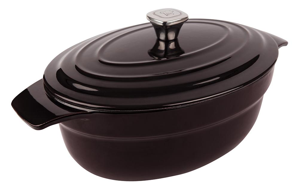 Кастрюля Rondell Deep Burgundy с крышкой, овальная, цвет: коричневый, 4,5 лRDI-702Кастрюля Rondell Deep Burgundy изготовлена из высококачественного чугуна. Блюда приготовленные в чугунной посуде отличаются особым вкусом, они являются более здоровыми, так как благодаря отличному сохранению температуры вы можете не жарить а томить блюда с минимальным количеством масла (с использованием крышки). Высококачественная внутренняя и внешняя эмаль защищает вашу посуду от окисления, позволяет хранить пищу в посуде после приготовления и облегчает уход. Ручки с желобком, плавными скругленными углами и удобным наклоном обеспечивают удобство при использовании. Выпуклости на внутренней стороне крышки обеспечивают эффект орошения, сохранение натурального вкуса и питательной ценности блюд. Воплощайте свои фантазии вместе с кастрюлей Rondell. Такая кастрюля - это идеальный подарок для современных хозяек, которые следят за своим здоровьем и здоровьем своей семьи. Подходит для использования на всех видах плит включая индукционные. Не подходит для...