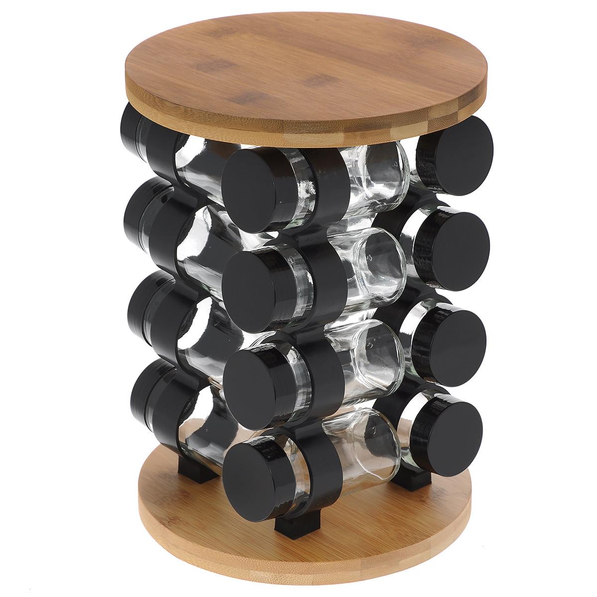 Набор для специй, 17 предметовGSR2721Набор для специй состоит из 16 баночек для специй и подставки. Баночки изготовлены из стекла и оснащены плотно закручивающимися крышками из пластика черного цвета. Баночки устанавливаются на вращающуюся бамбуковую подставку. Для каждой баночки предусмотрено круглое отверстие. Набор идеально подойдет для хранения различных приправ и специй. Благодаря прозрачным стенкам, можно видеть содержимое баночек. Такой набор красиво дополнит интерьер кухни и станет незаменимым помощником в приготовлении ваших любимых блюд. Баночки можно мыть в посудомоечной машине. Диаметр баночки (по верхнему краю): 4,2 см. Высота баночки: 9,5 см. Размер подставки (ДхШхВ): 19 см х 19 см х 27 см.