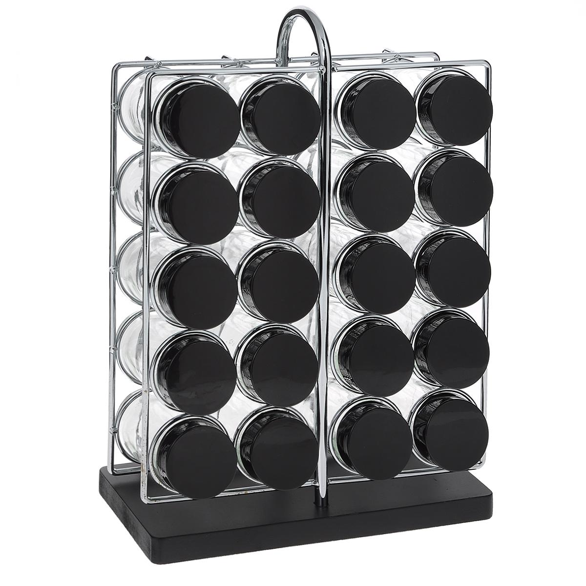 Набор для специй, 21 предметGSR3321Набор для специй состоит из 20 баночек для специй и подставки. Баночки изготовлены из стекла и оснащены плотно закручивающимися крышками из пластика черного цвета. Баночки устанавливаются на металлическую подставку с пластиковым основанием. Для каждой баночки предусмотрено специальное отверстие. Подставка имеет удобную ручку. Набор идеально подойдет для хранения различных приправ и специй. Благодаря прозрачным стенкам, можно видеть содержимое баночек. Такой набор стильно дополнит интерьер кухни и станет незаменимым помощником в приготовлении ваших любимых блюд. Баночки можно мыть в посудомоечной машине. Диаметр баночки (по верхнему краю): 4,2 см. Высота баночки: 9,5 см. Размер подставки (ДхШхВ): 10 см х 22 см х 32 см.