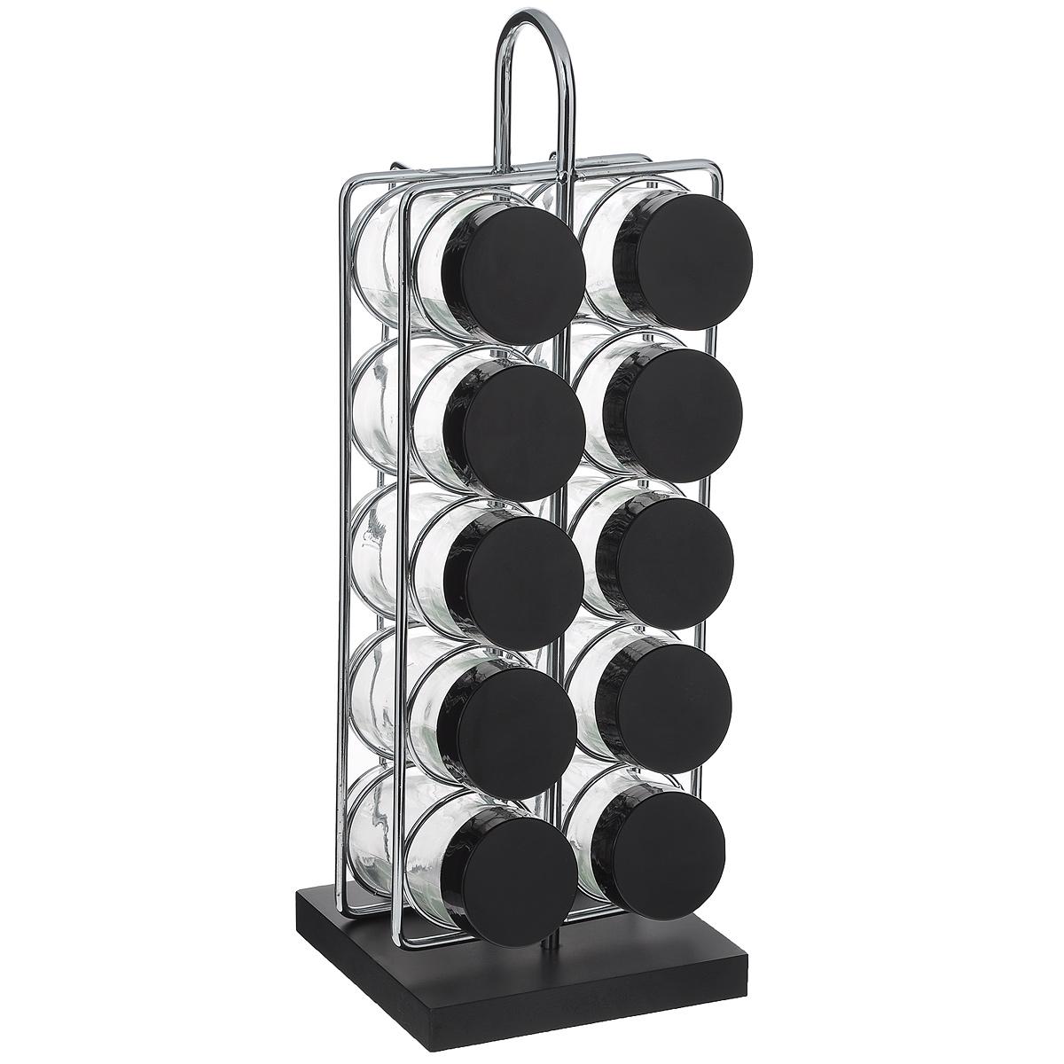 Набор для специй, 11 предметовGSR2311Набор для специй состоит из 10 баночек для специй и подставки. Баночки изготовлены из стекла и оснащены плотно закручивающимися пластиковыми крышками. Баночки устанавливаются на металлическую подставку с основанием из МДФ черного цвета. Для каждой баночки предусмотрена специальная выемка. Набор идеально подойдет для хранения различных приправ и специй. Благодаря прозрачным стенкам, можно видеть содержимое баночек. Такой набор стильно дополнит интерьер кухни и станет незаменимым помощником в приготовлении ваших любимых блюд. Баночки можно мыть в посудомоечной машине. Диаметр баночки (по верхнему краю): 4,2 см. Высота баночки: 9,5 см. Размер подставки (ДхШхВ): 10,5 см х 11,5 см х 33 см.