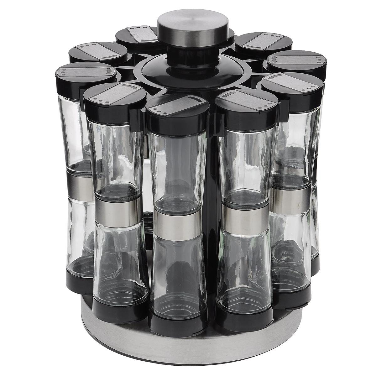 Набор для специй, 21 предметGSR2520Набор для специй состоит из 20 баночек для специй и подставки. Баночки изготовлены из стекла и оснащены плотно закручивающимися крышками из пластика черного цвета. Крышки снабжены клапаном с большим отверстием и тремя маленькими отверстиями. Баночки подвешиваются на вращающуюся пластиковую подставку с отделкой металлическими элементами. Набор идеально подойдет для хранения различных приправ и специй. Благодаря прозрачным стенкам, можно видеть содержимое баночек. Такой набор стильно дополнит интерьер кухни и станет незаменимым помощником в приготовлении ваших любимых блюд. Баночки можно мыть в посудомоечной машине. Диаметр баночки (по верхнему краю): 4,5 см. Высота баночки: 9 см. Размер подставки (ДхШхВ): 18 см х 18 см х 25 см.