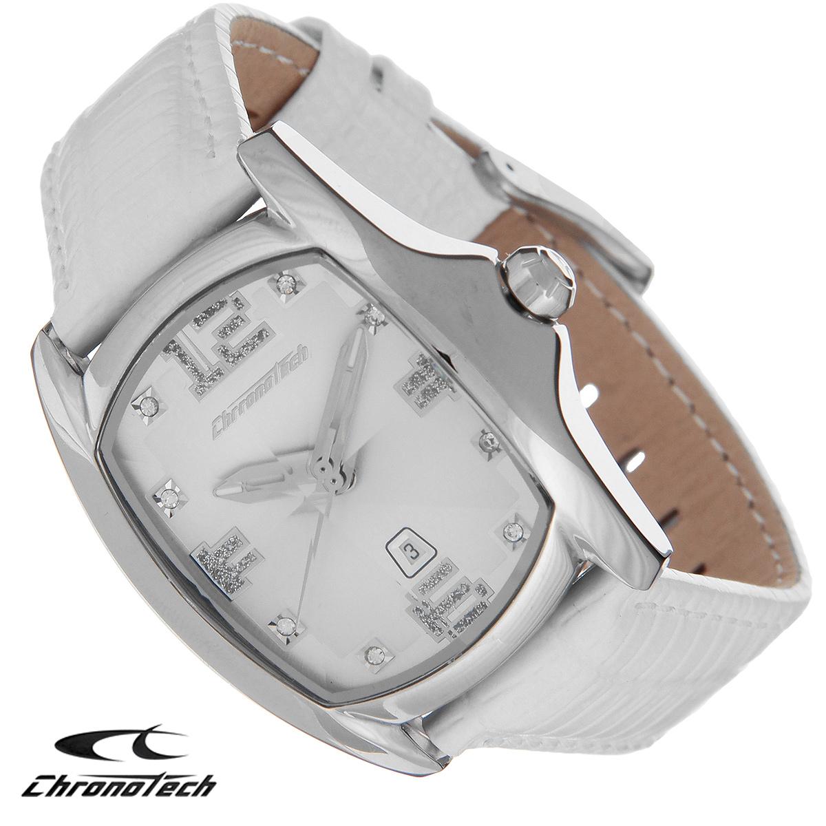 Часы женские наручные Chronotech, цвет: белый, серебристый. CT.7107ALS/80CT.7107ALS/80